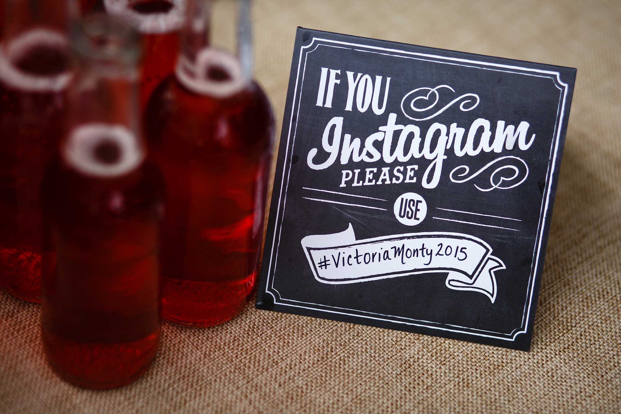instagram sign at wedding