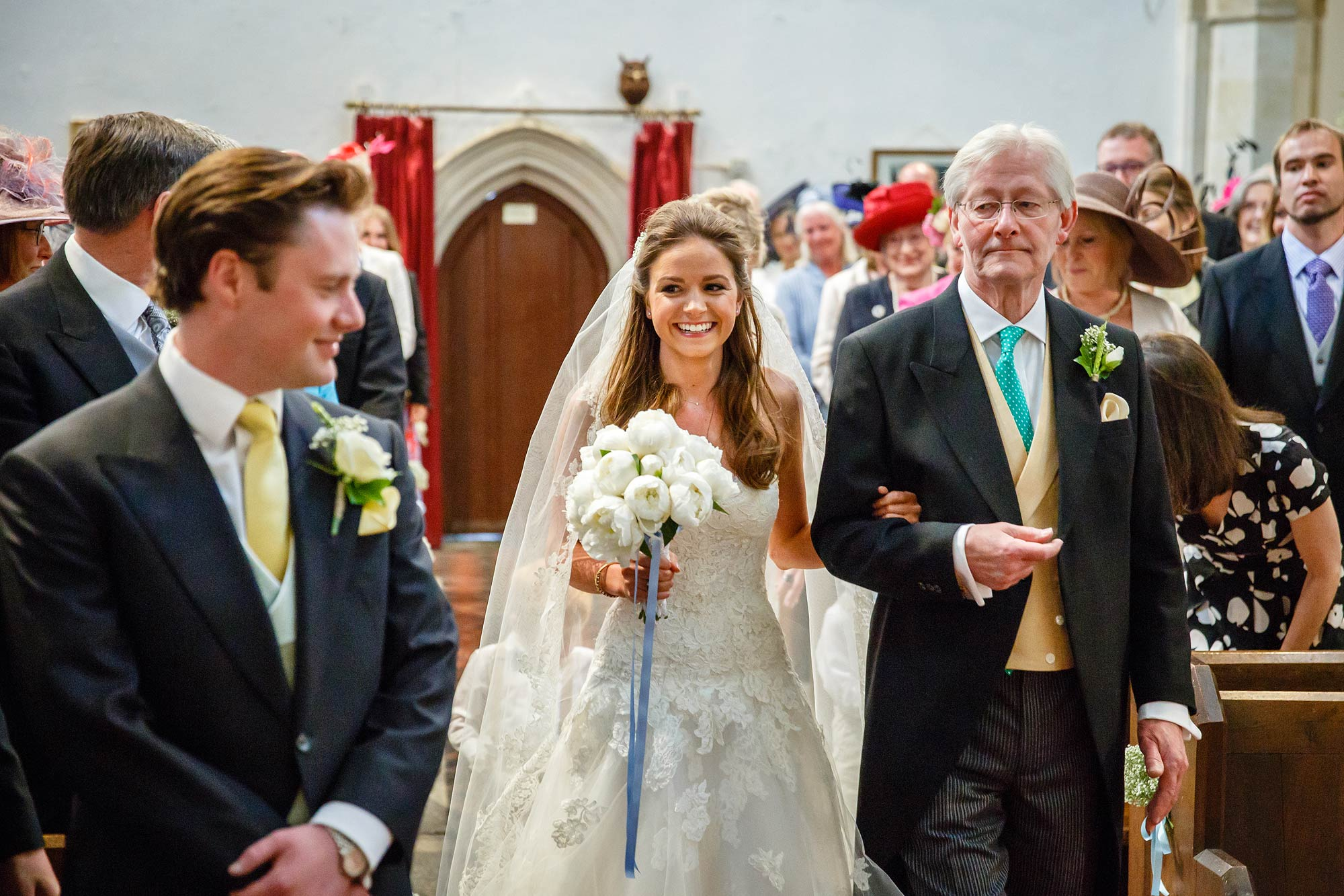 kent bride walks down the aisle
