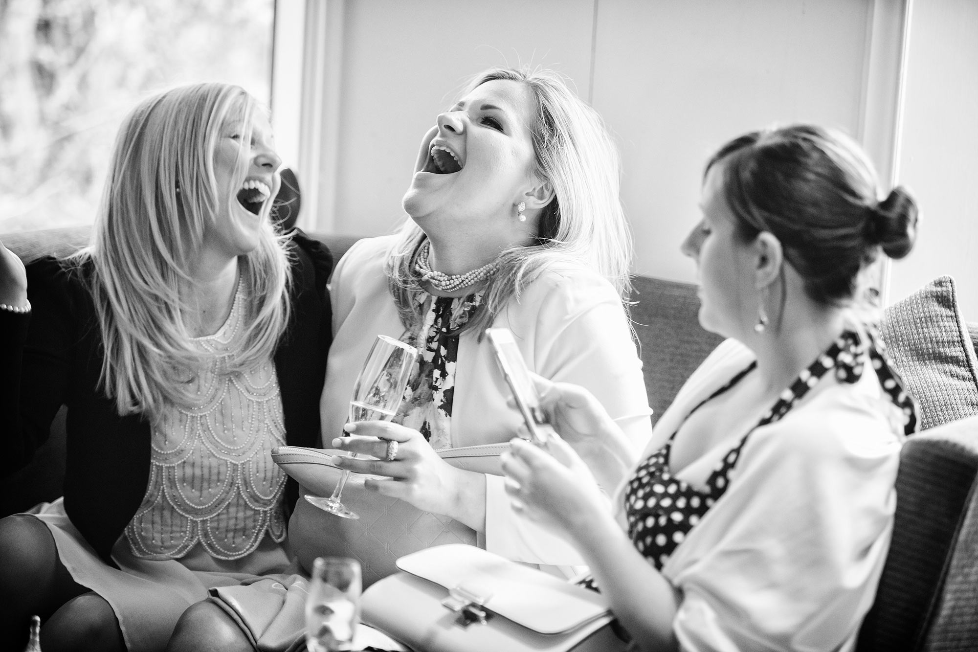 laugghing at Stock Brook Country Club Wedding