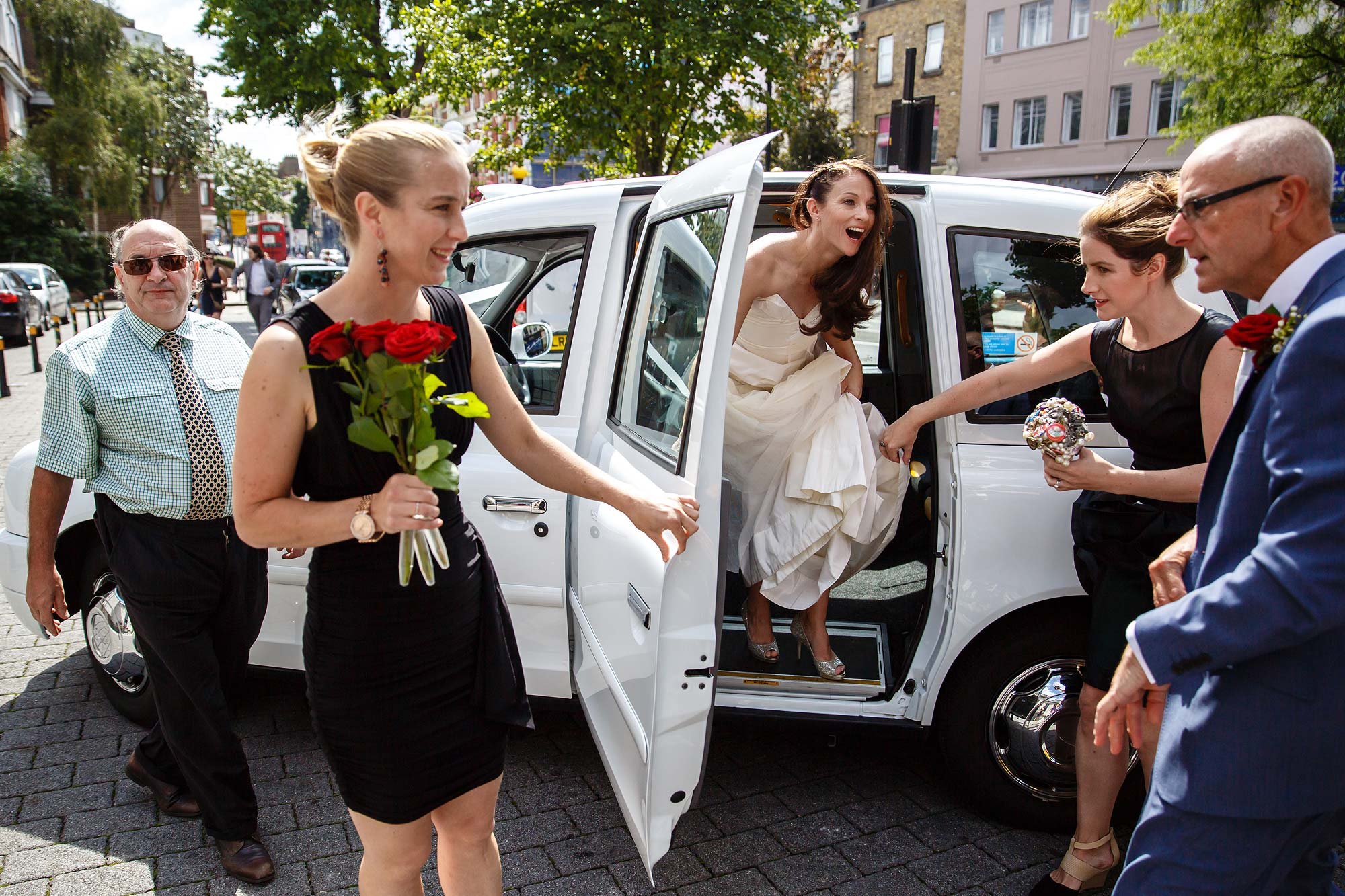 white cab wedding