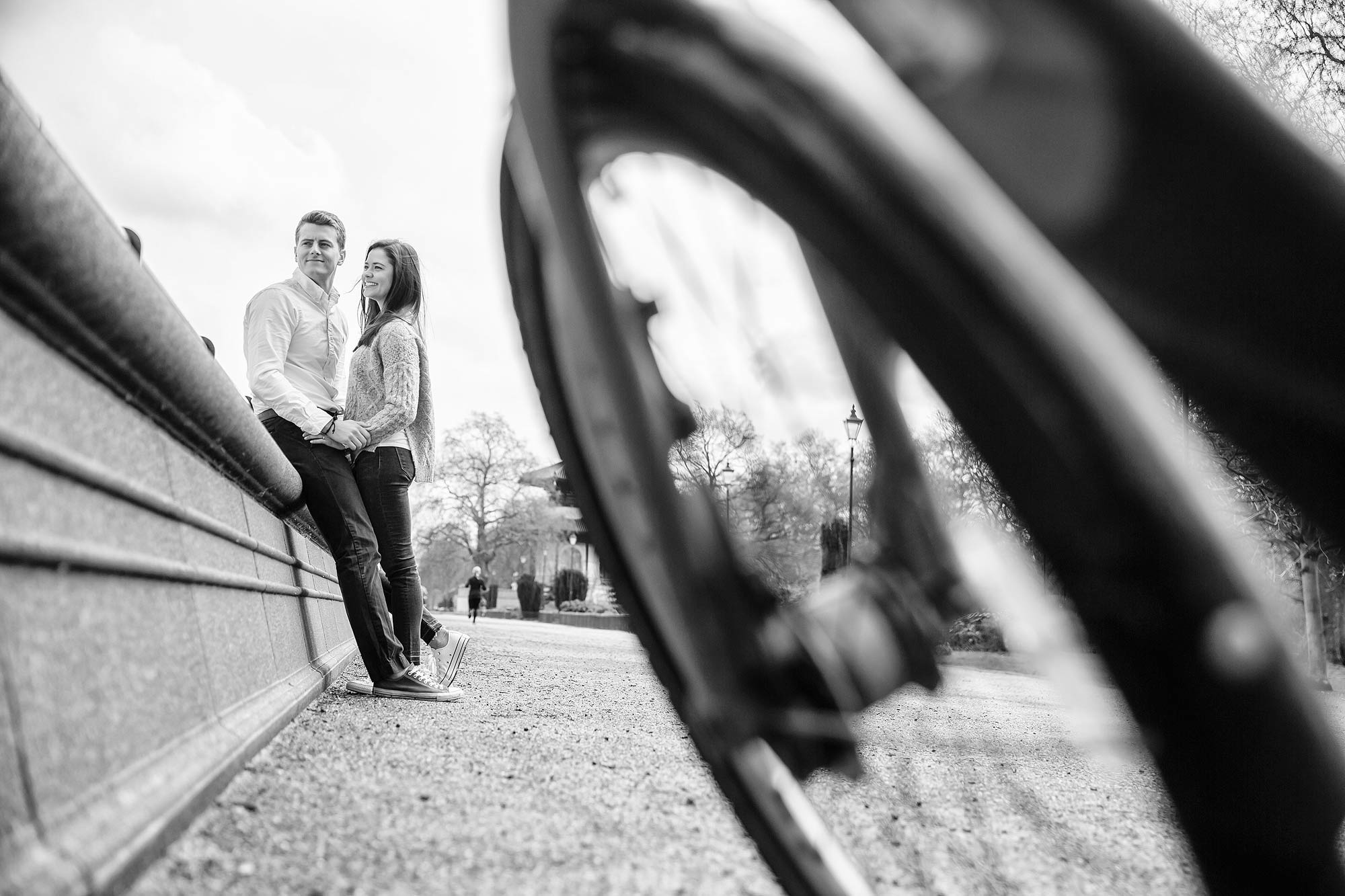 boris bikes battersea park engagement photos