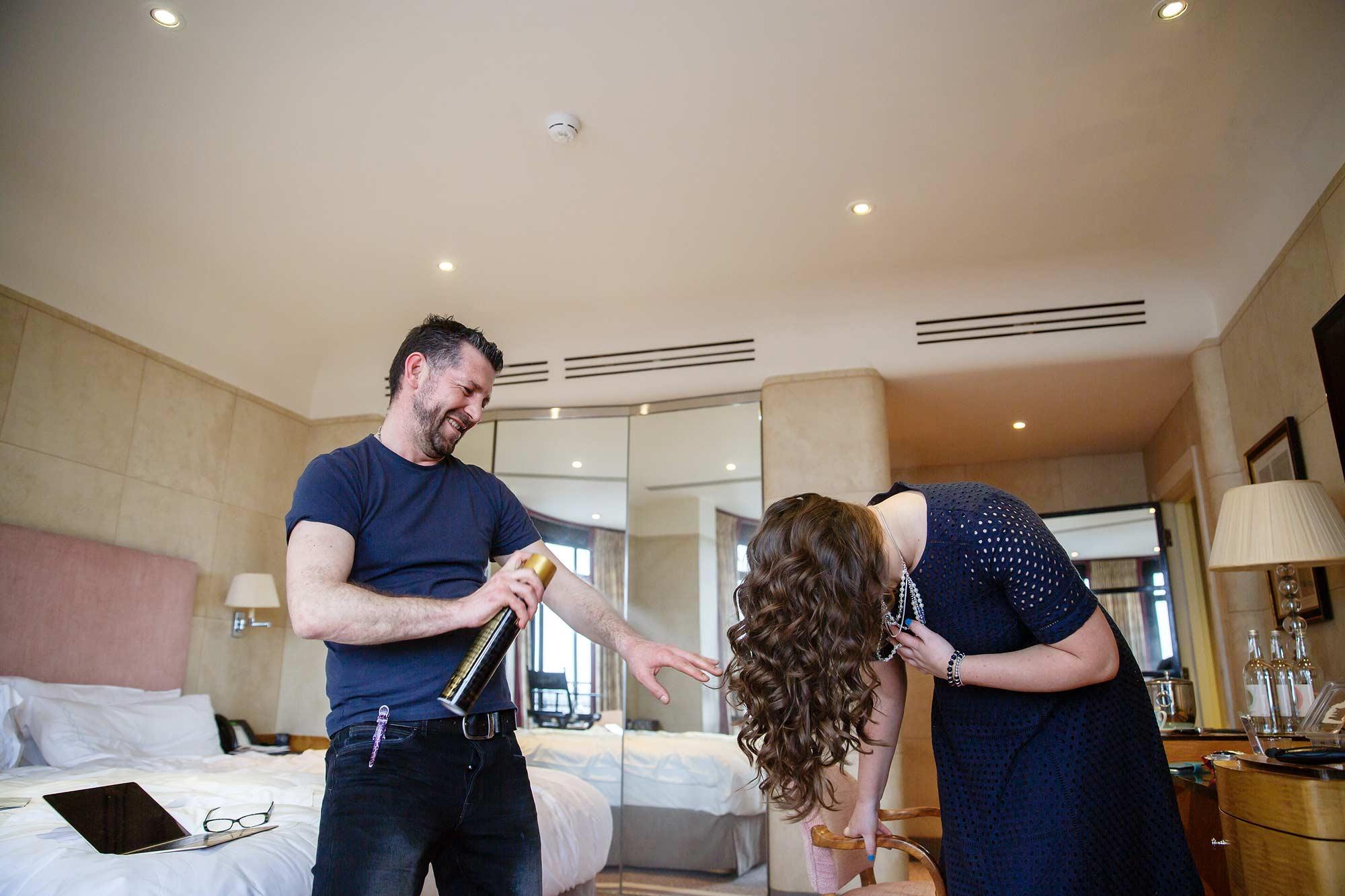 hairdresser at claridge's wedding