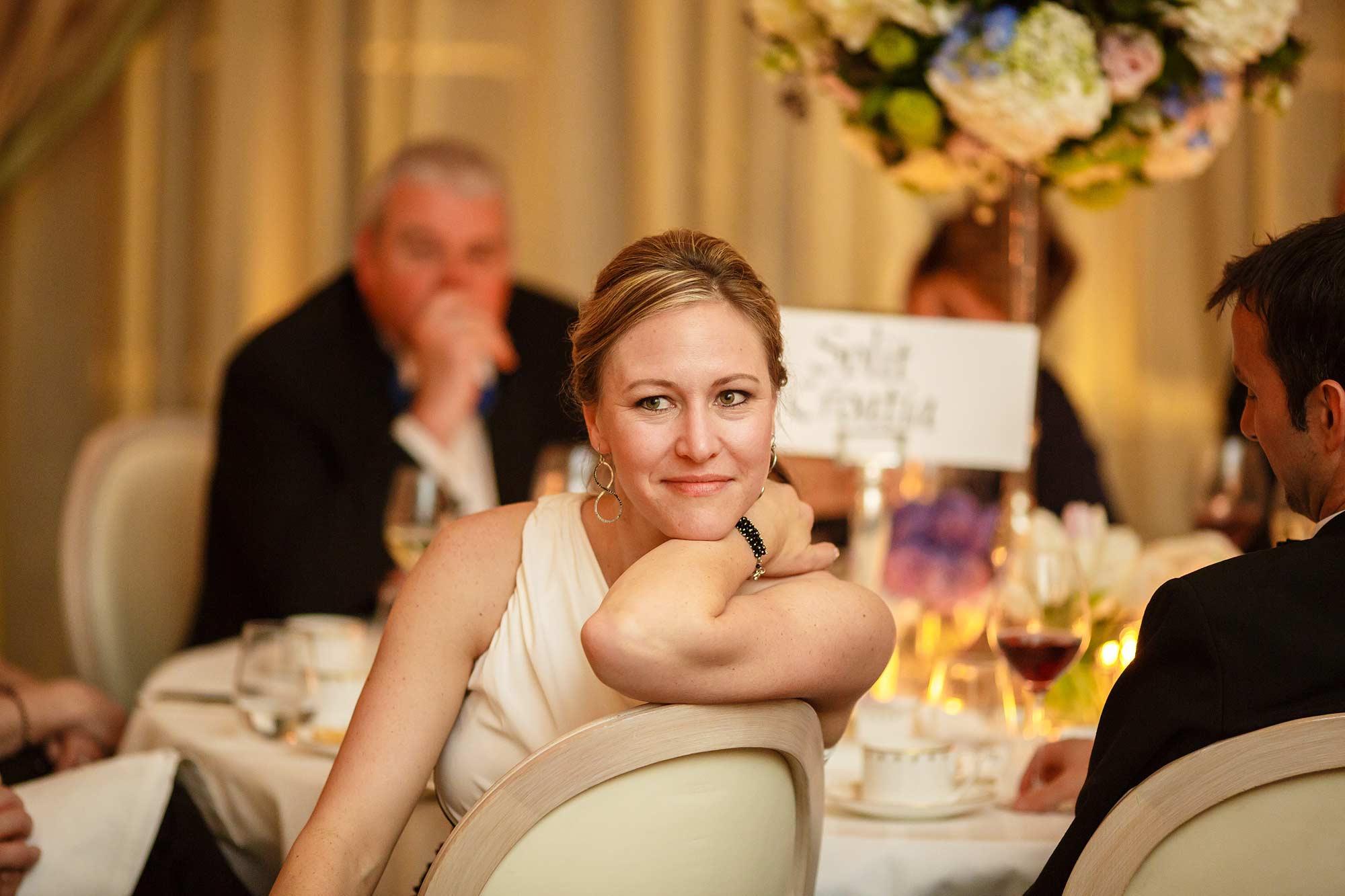 listening to speeches at claridges wedding