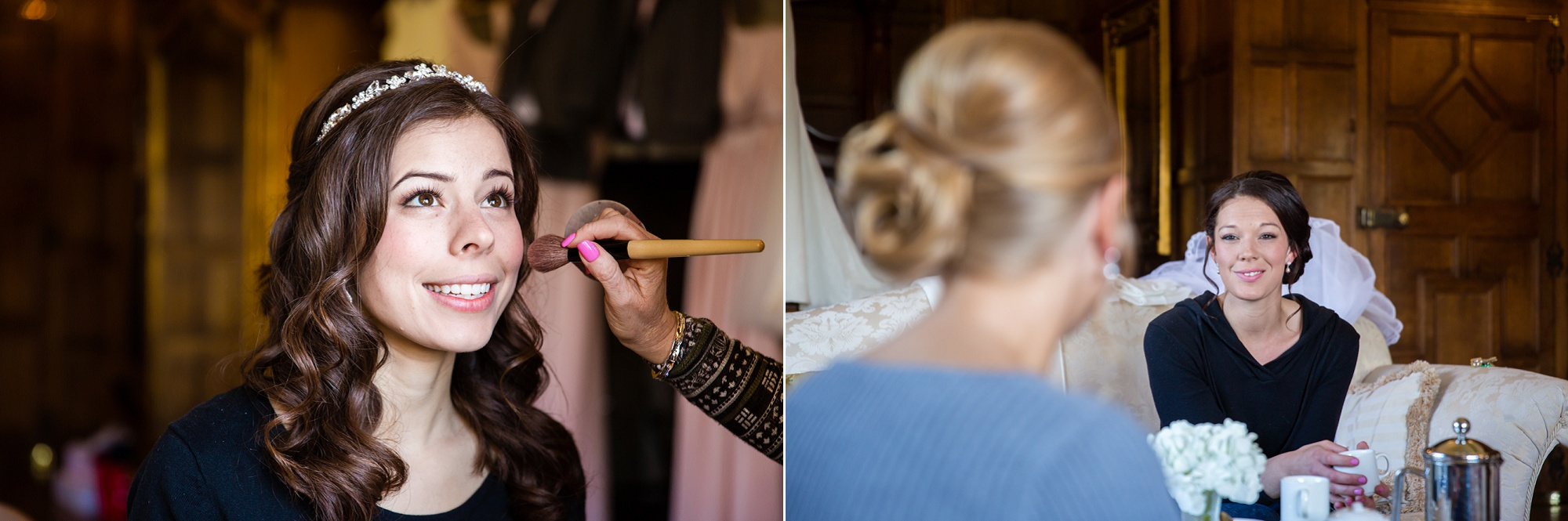 bride and her friends get ready for her Hengrave Hall Wedding