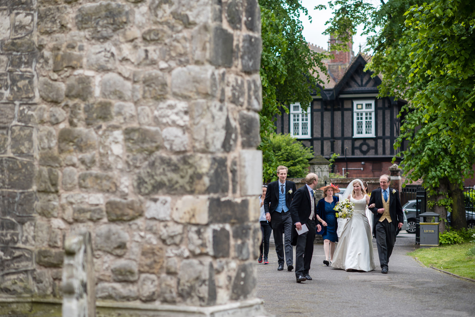 The bride and her party arrive for the Fulham Palace wedding