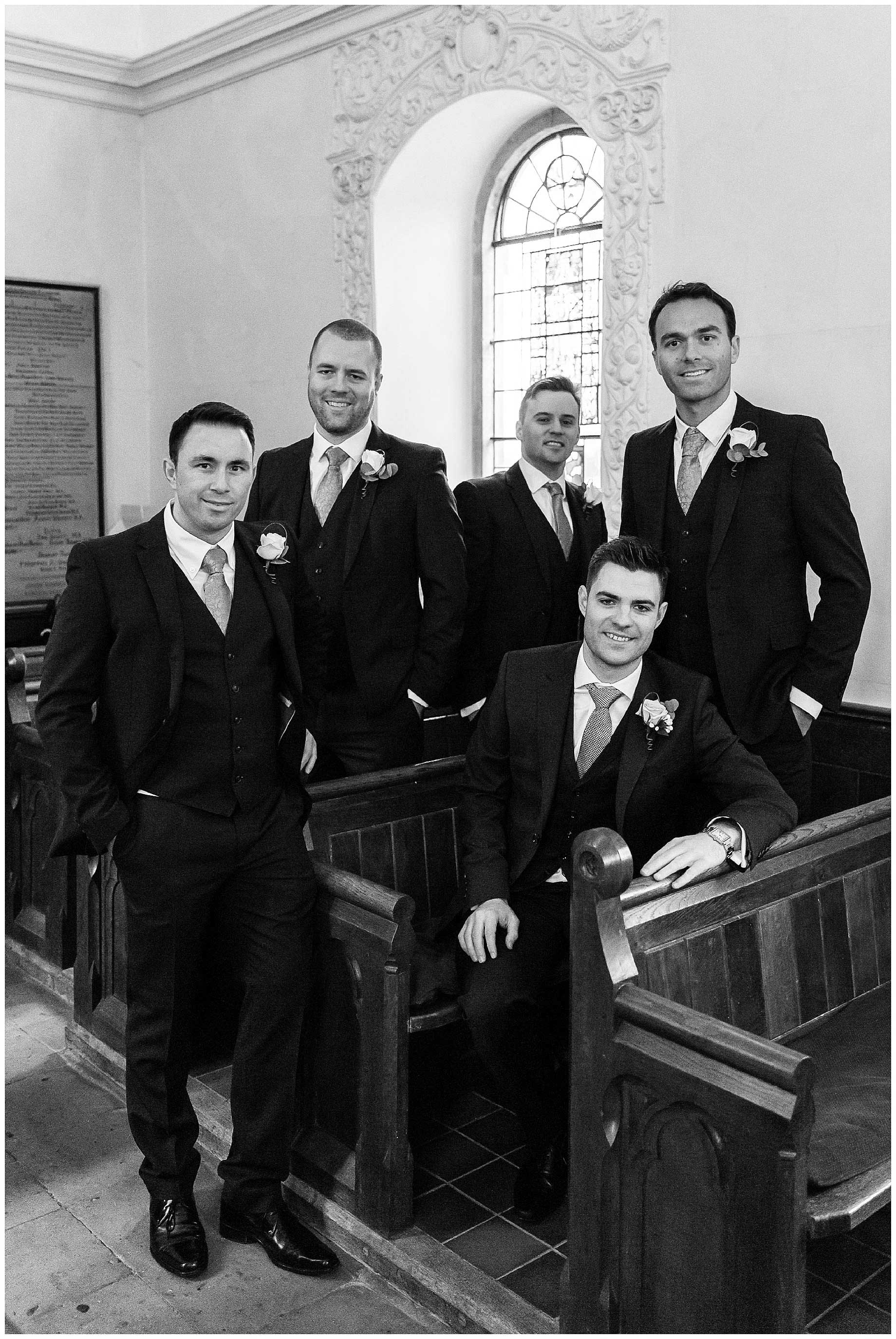 posed shot of the groom and ushers