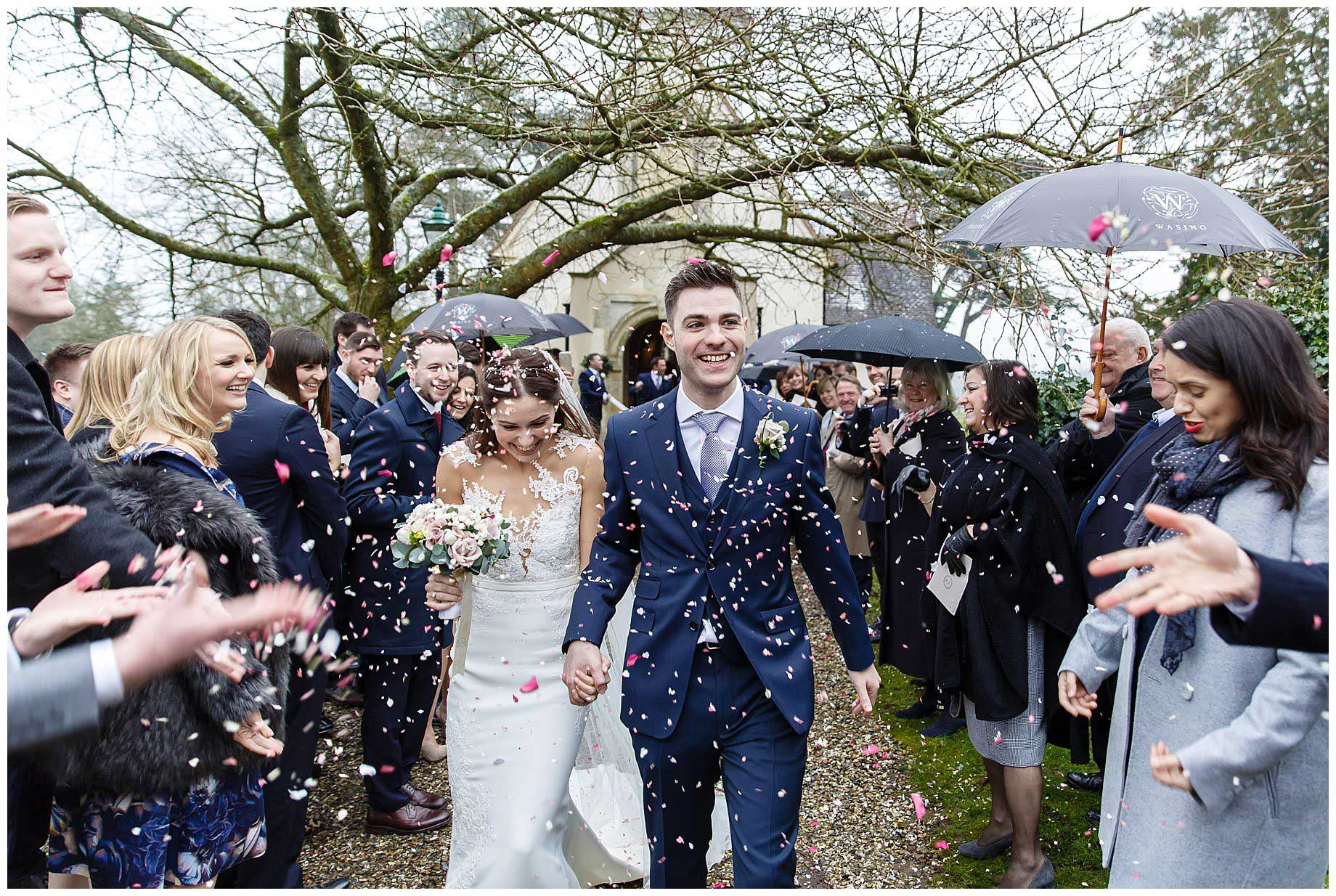 confetti at wasing park winter wedding