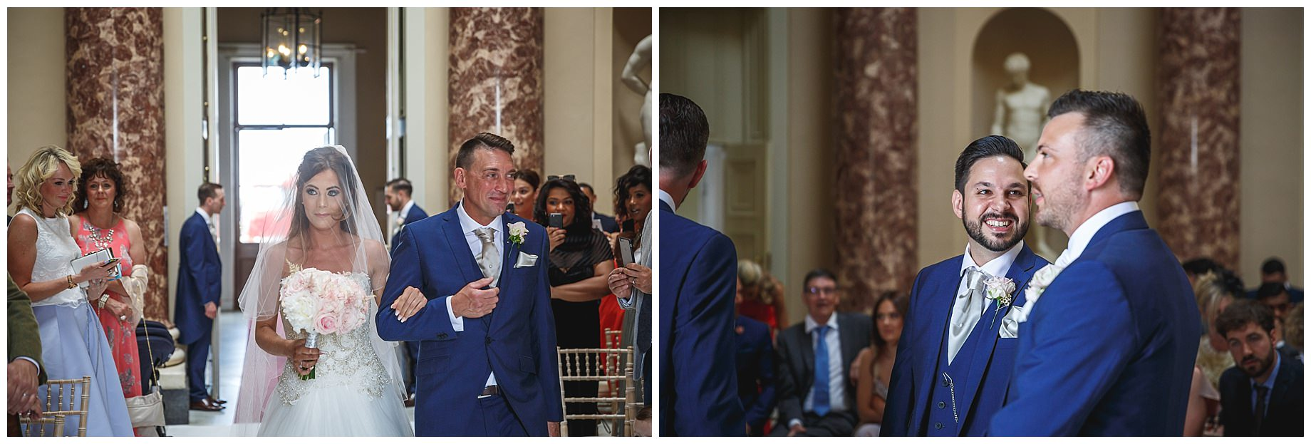 walking down the aisle at Stowe House Wedding