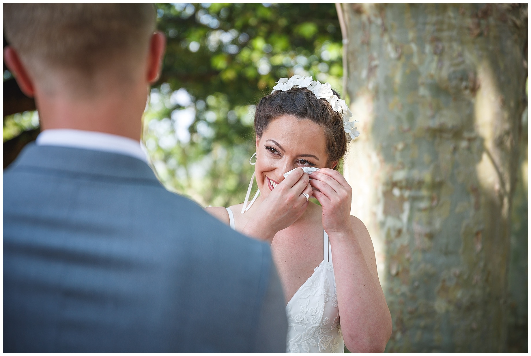 bride cries at Chateau Grand Bois Wedding