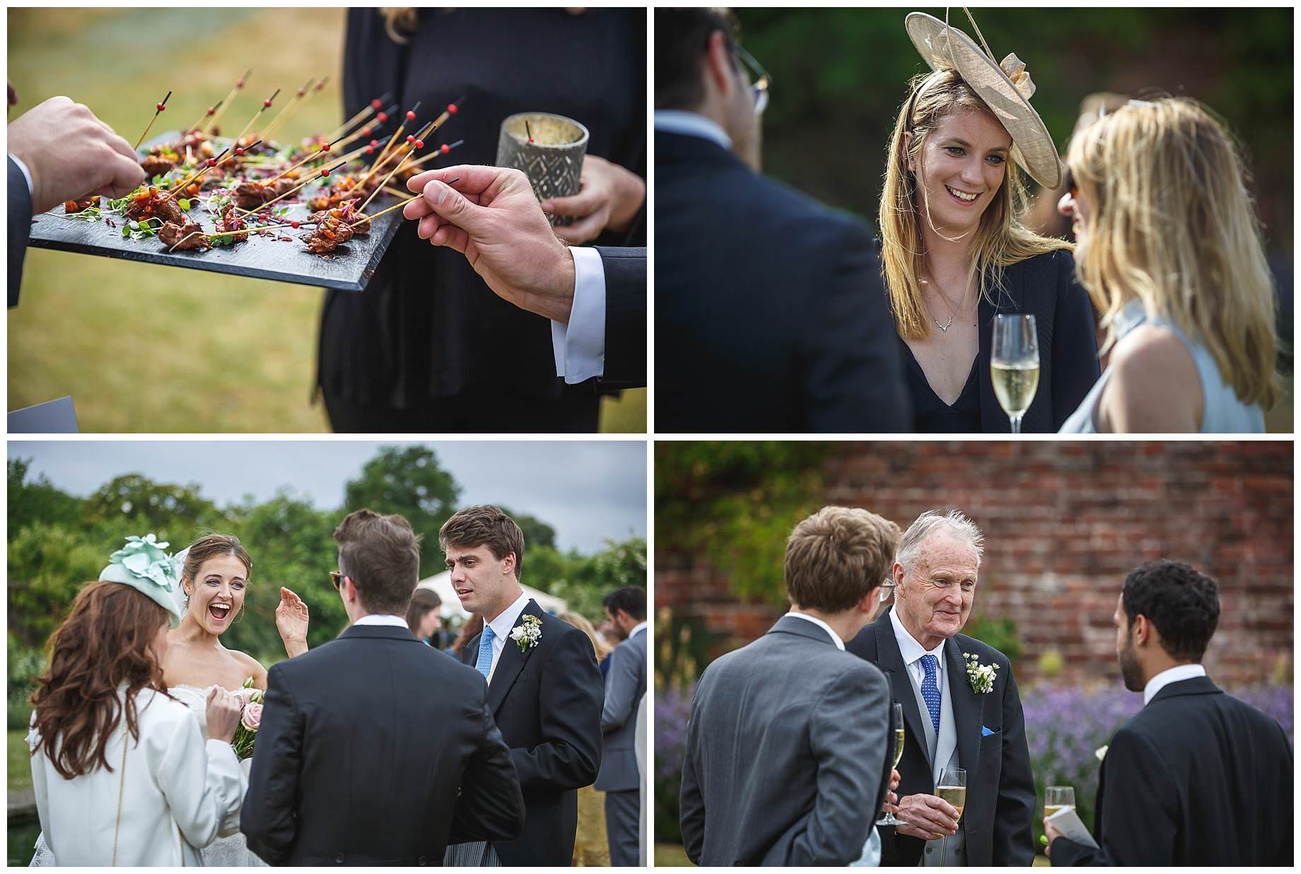 guests enjoying champagne at Goodnestone Park Wedding