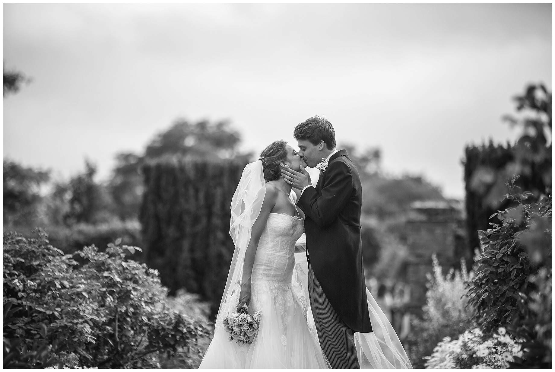 black and white shot of Goodnestone Park Wedding couple