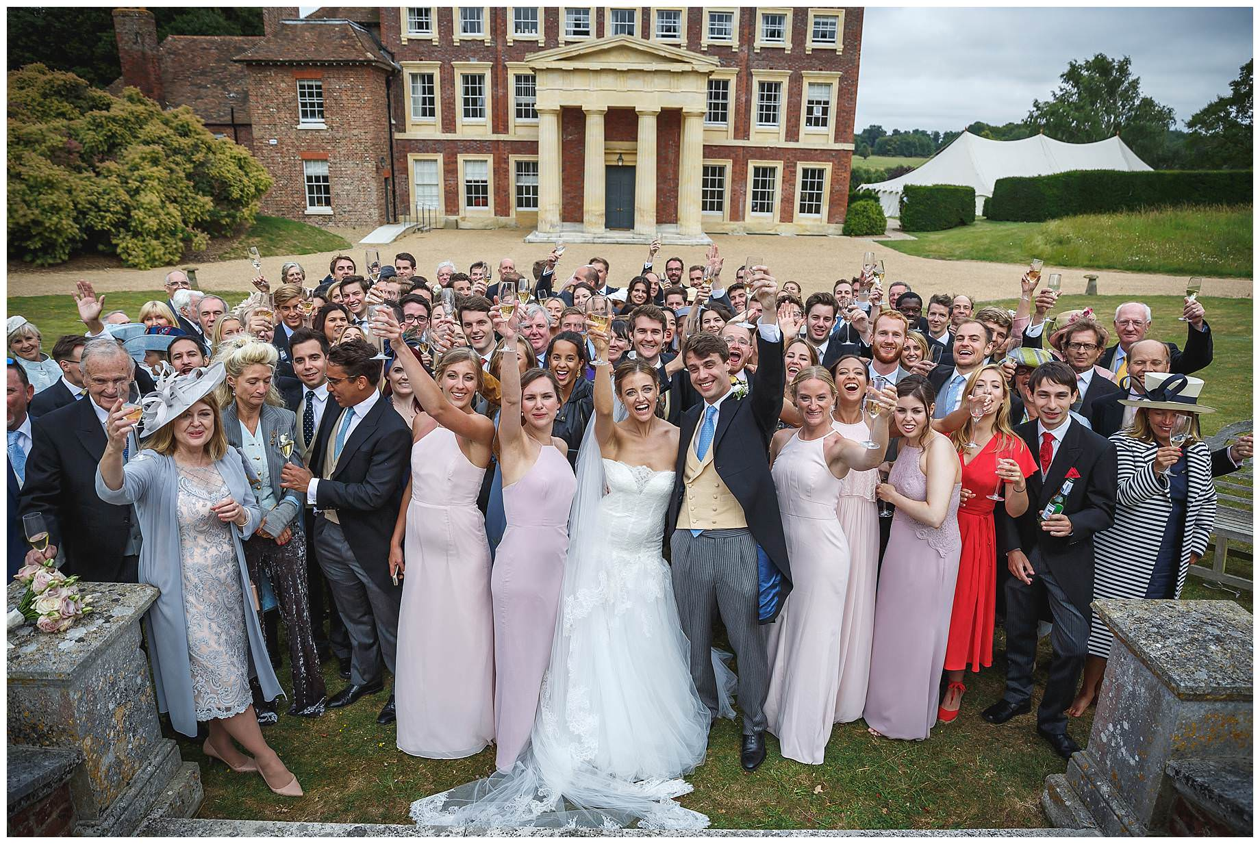 All guests at Goodnestone Park Wedding