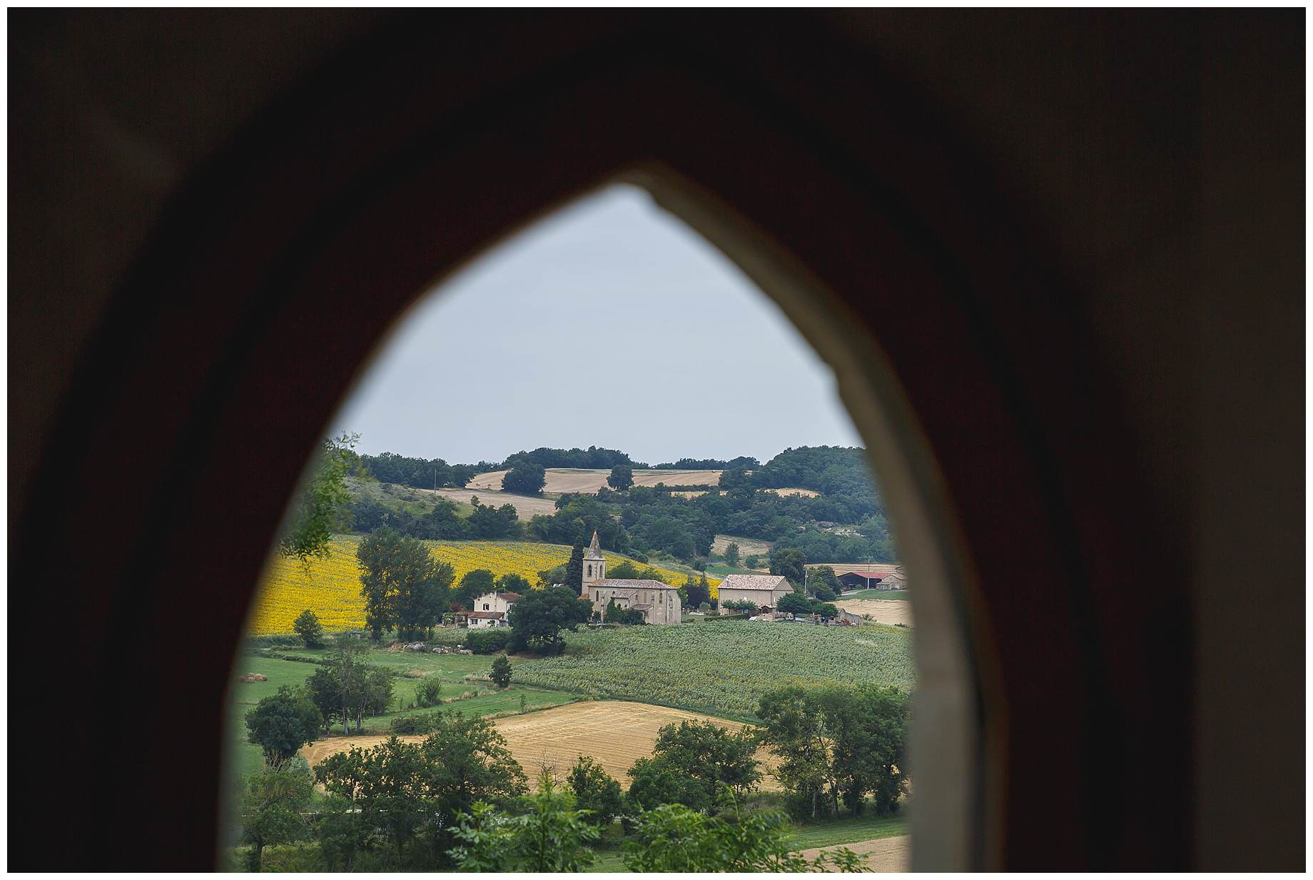 The view of the church from Chateau Brametourte