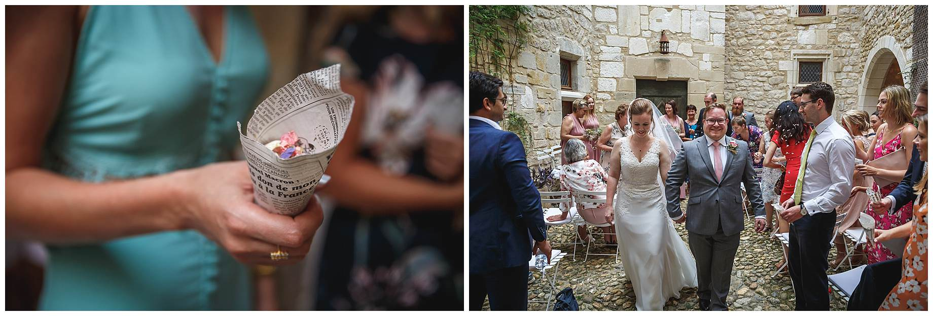 confetti at Chateau Brametourte Wedding