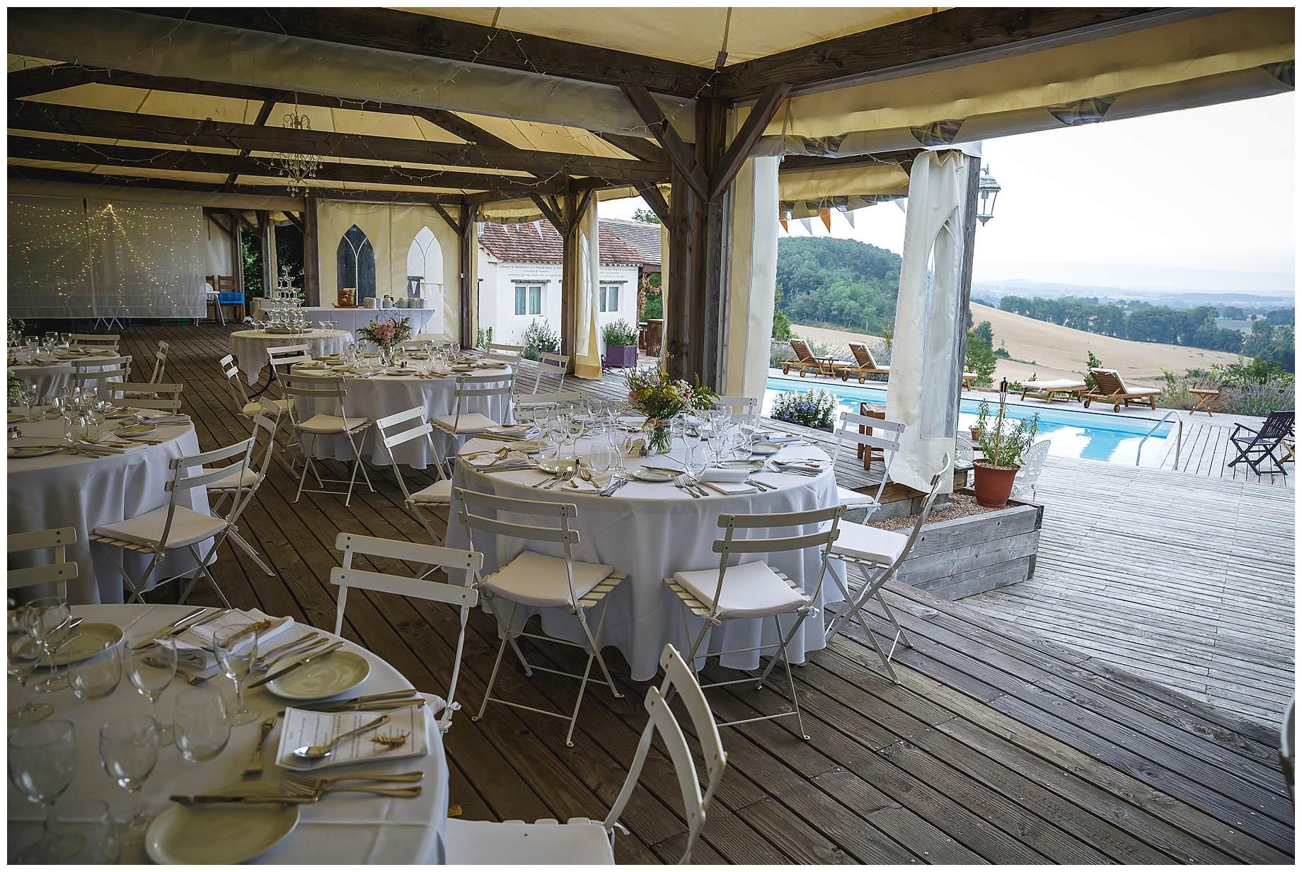 the tables set up at Chateau Brametourte Wedding
