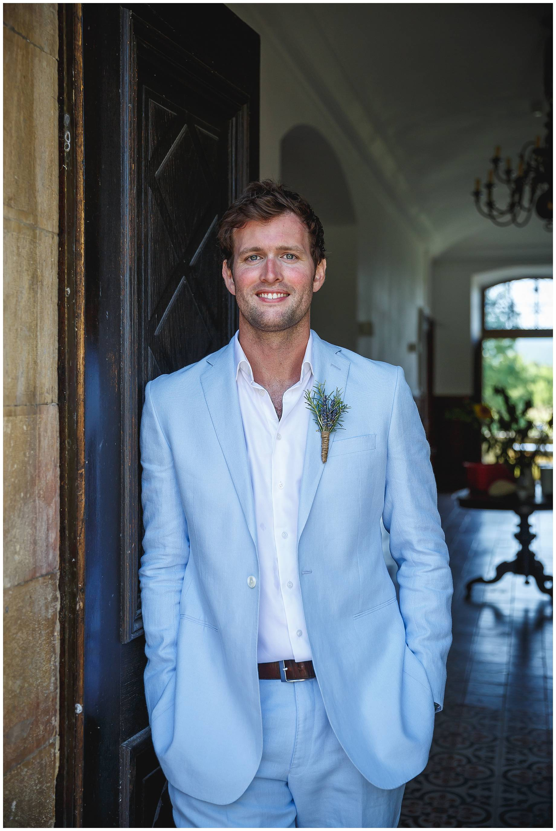 Sam the groom at Chateau du Bijou Wedding