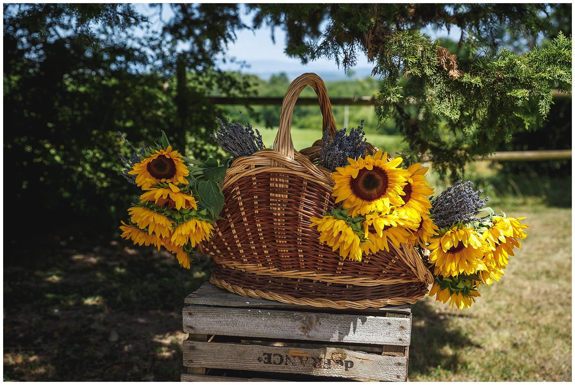 sunflowers at wedding