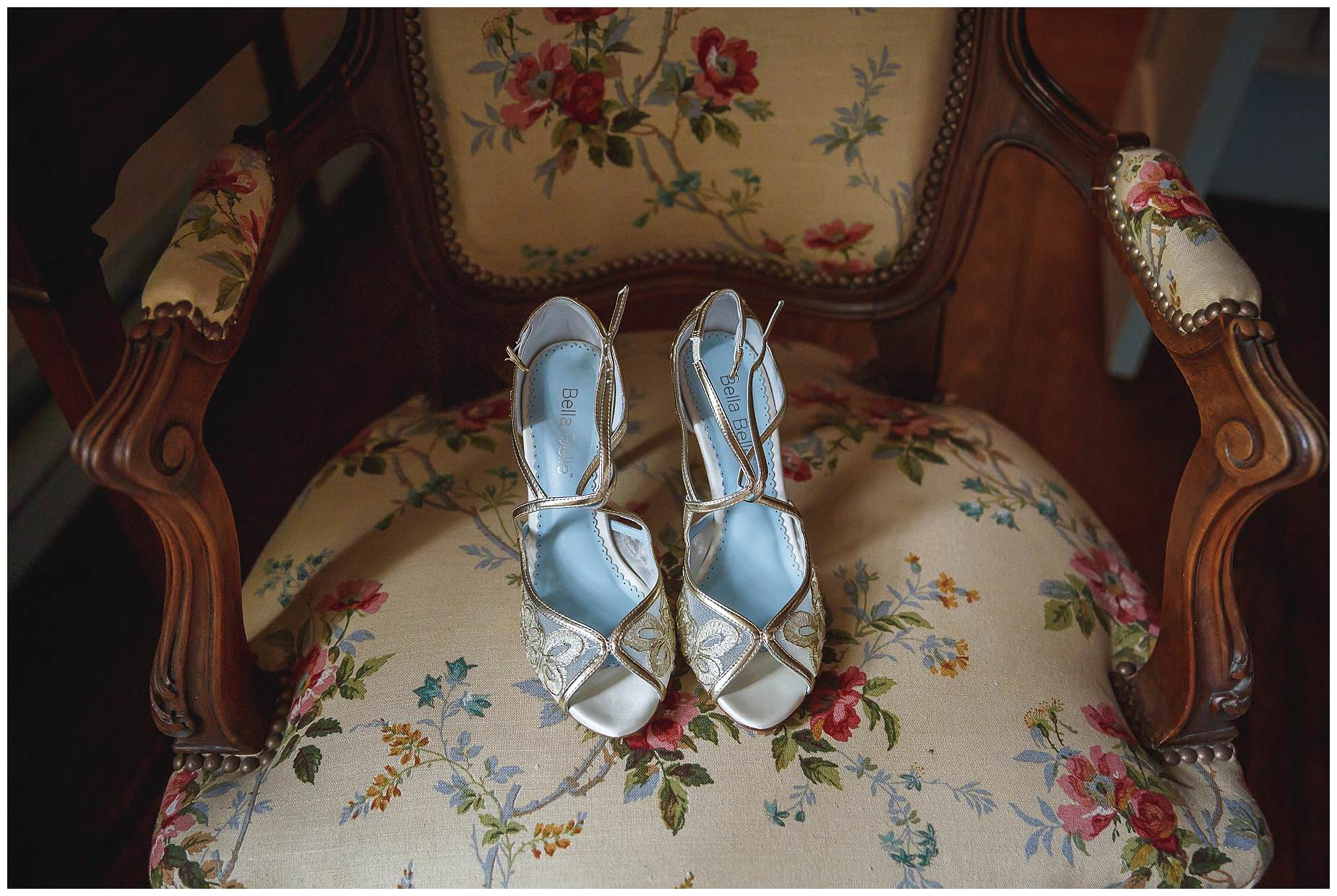 brides shoes on a chair
