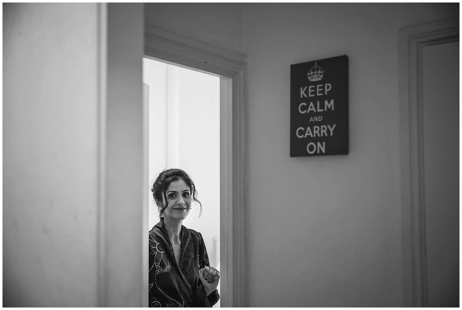 Bride and keep calm and carry on sign