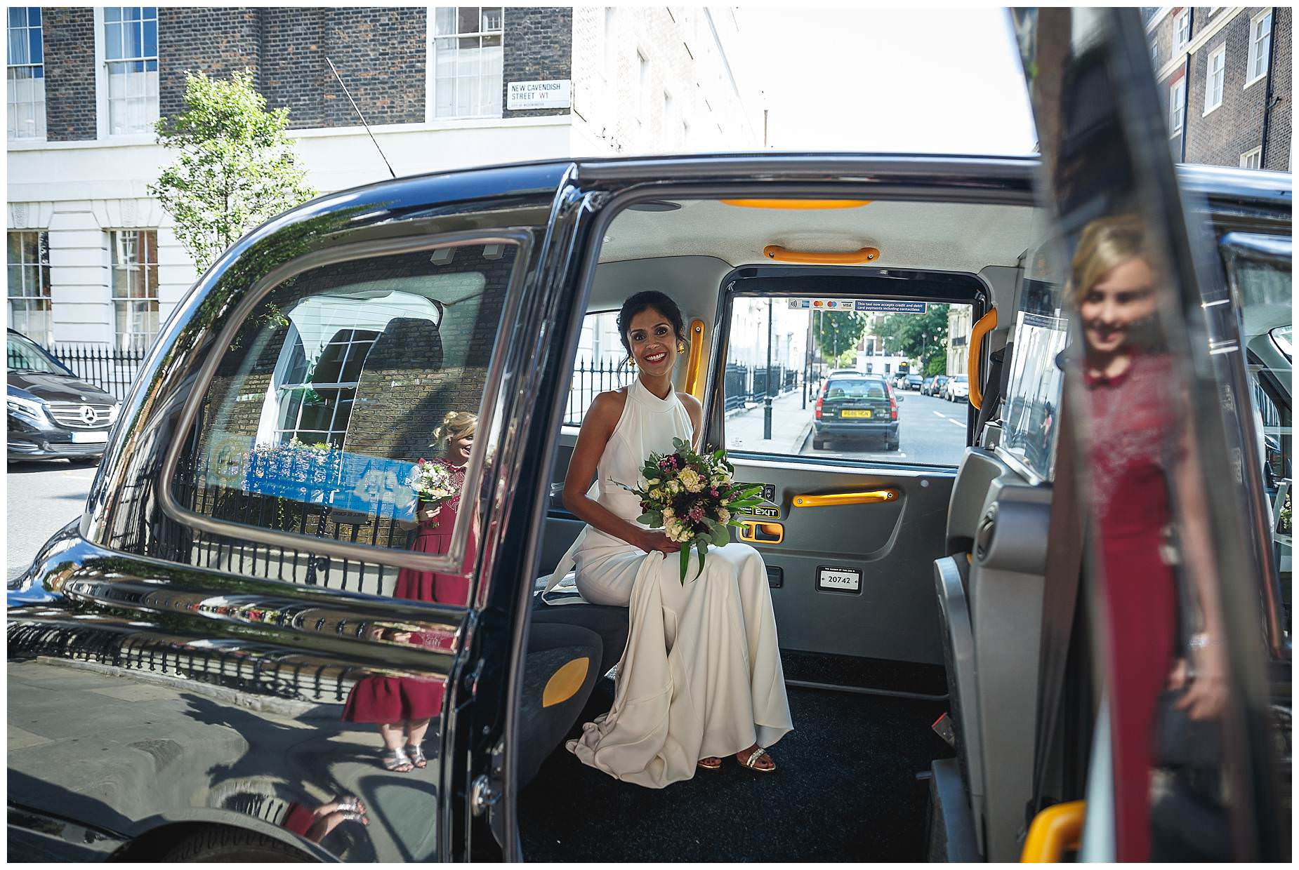 Bride arrives at Asia House Wedding