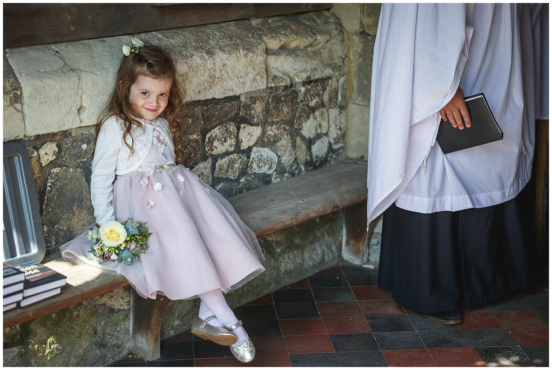 flower girl waiting in church