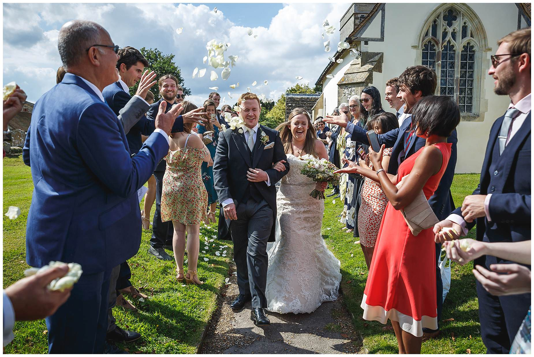 confetti line at Bury Court Barn Wedding