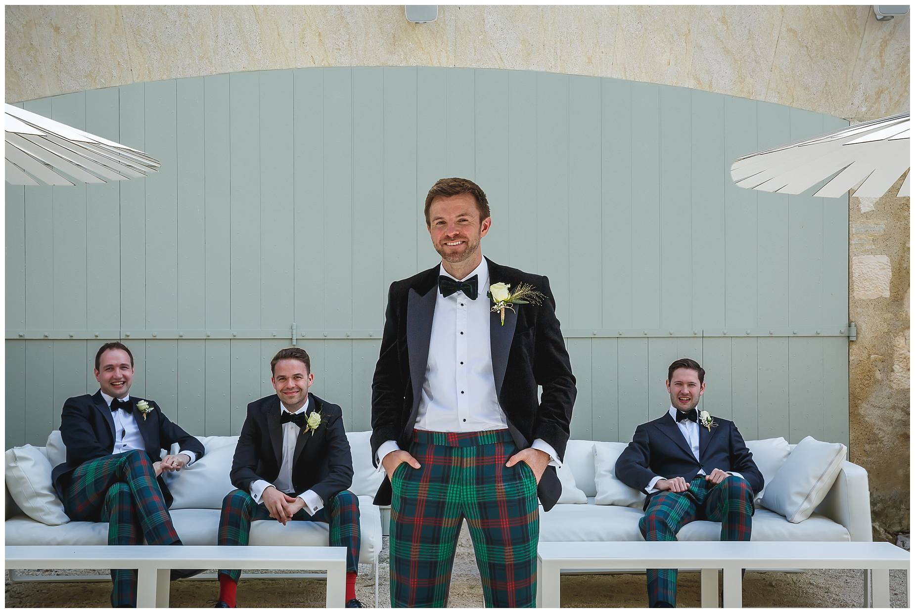 groom with tartan trousers