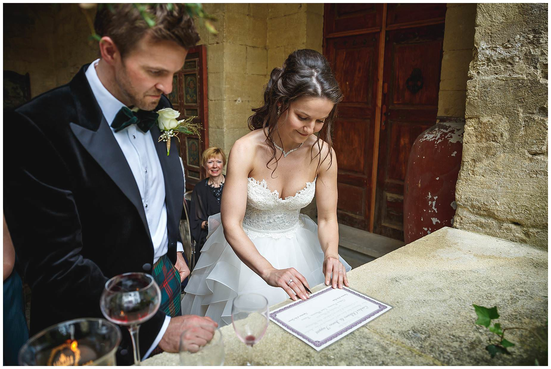 signing the register wedding at chateau provence saint maimum