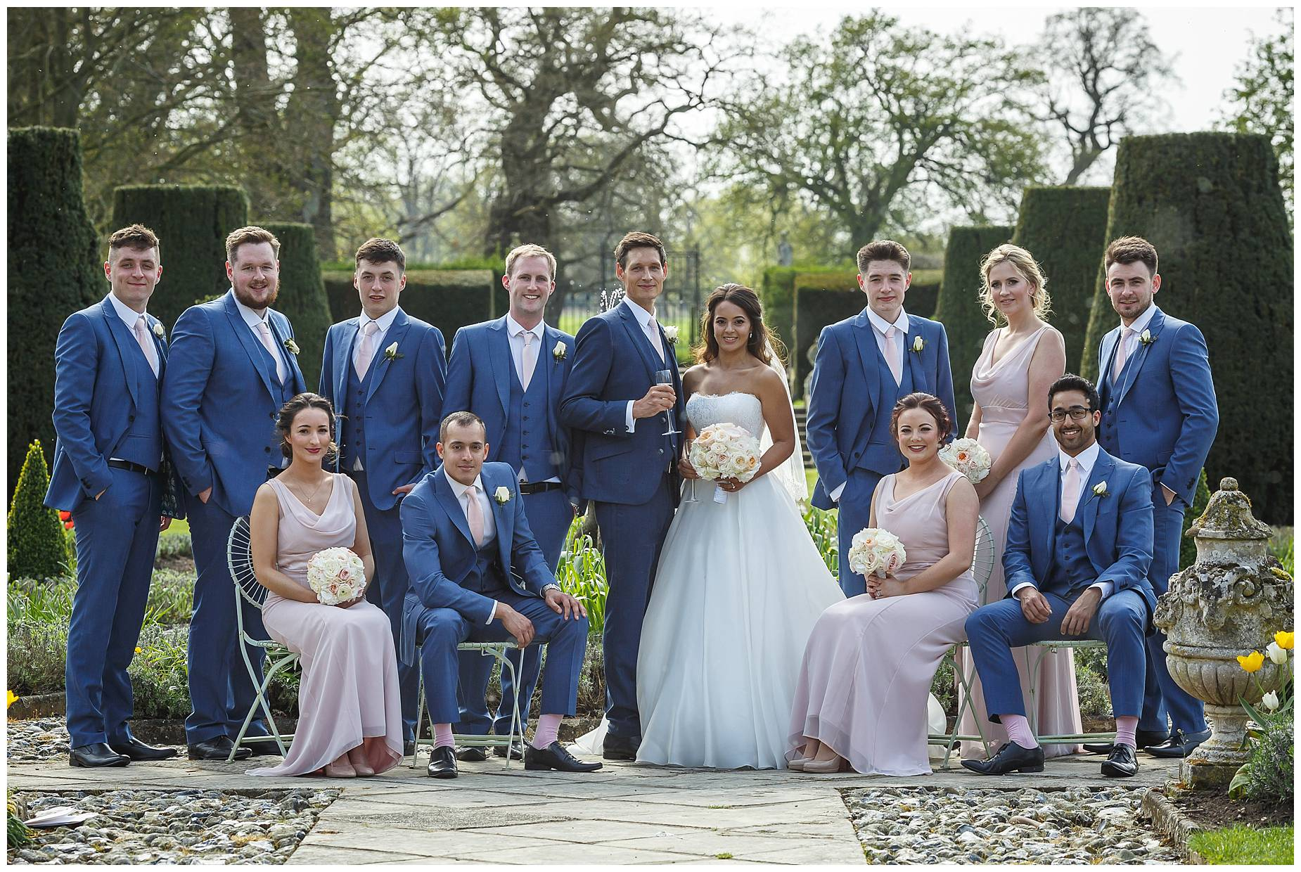 bridal party at Wedding Hengrave Hall
