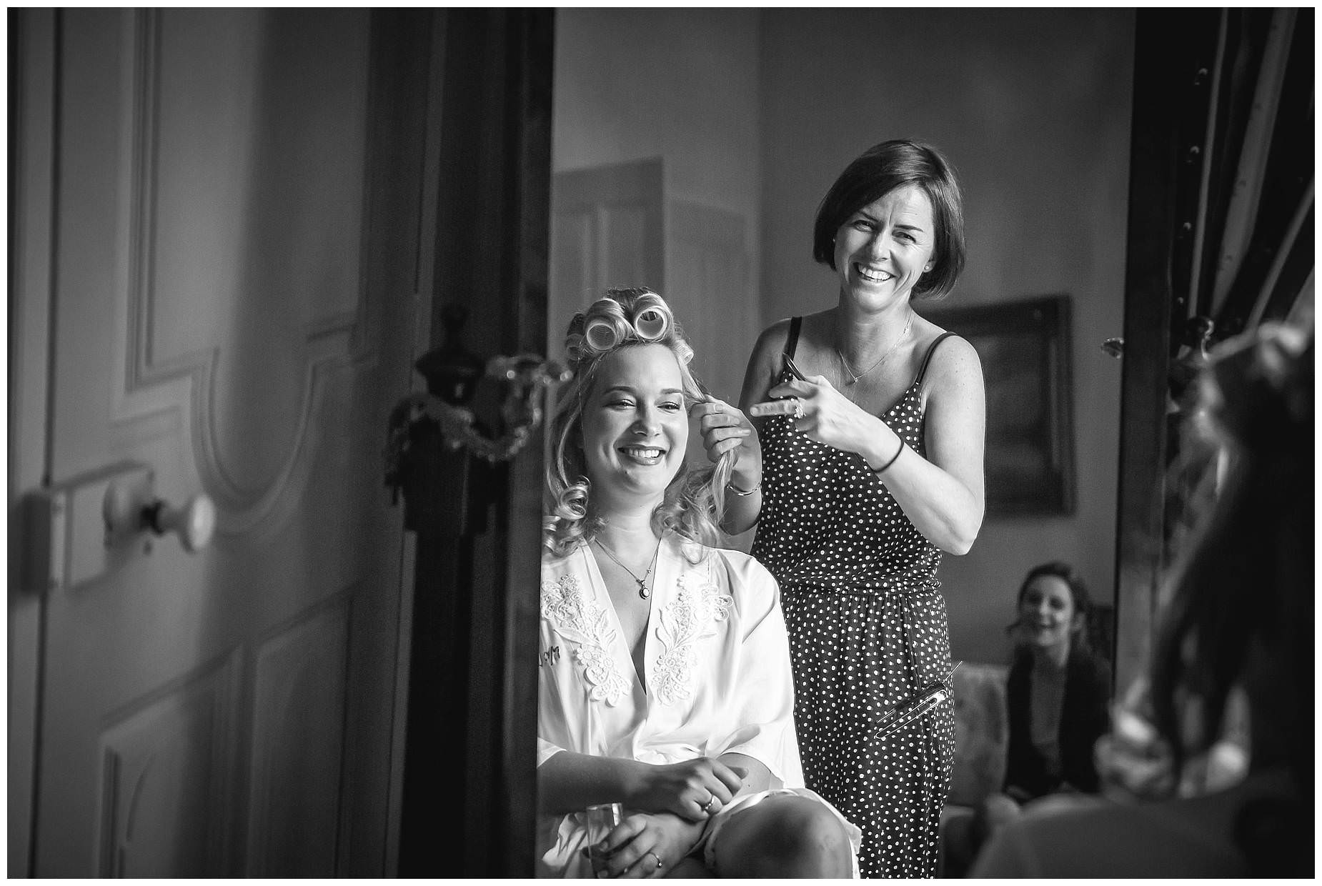 bride getting her hair dome