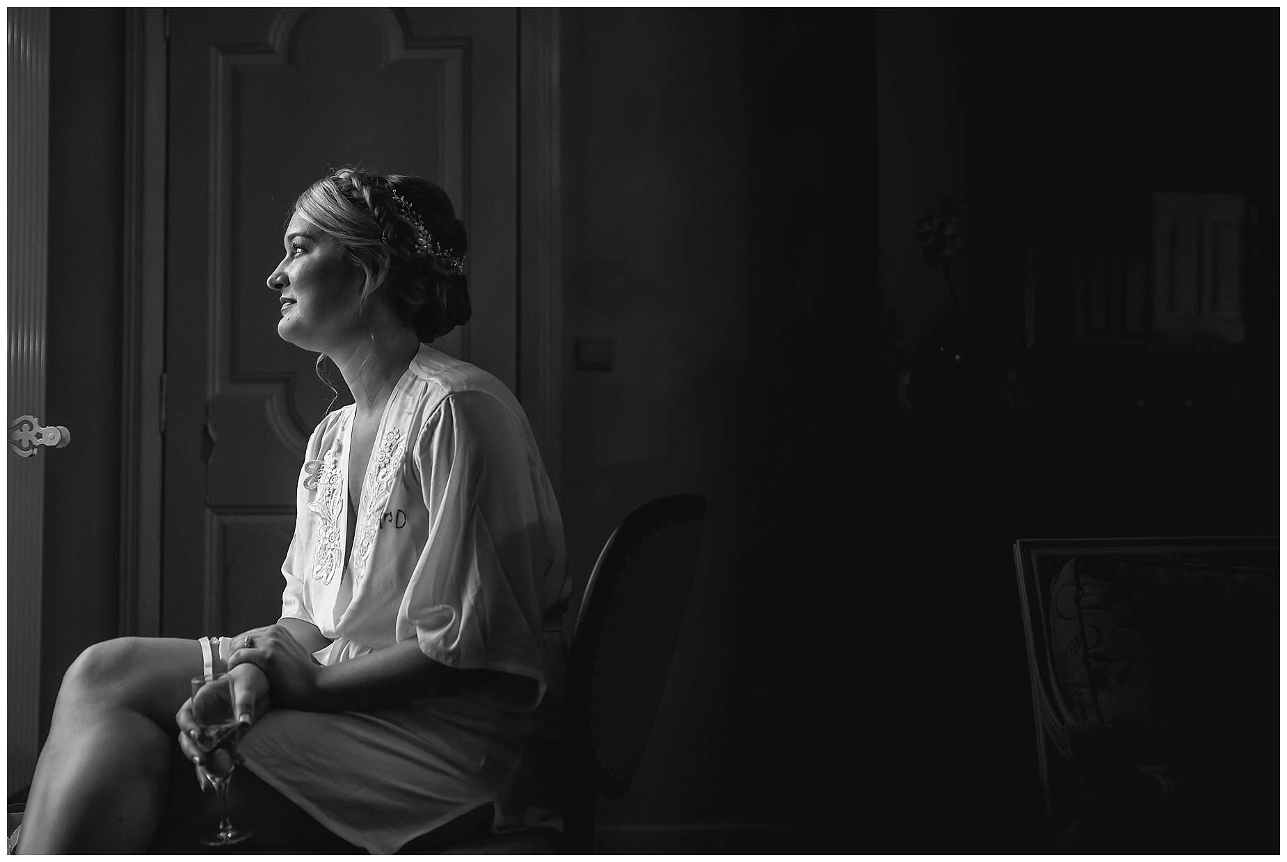 bride in black and white at Chateau Roquelune Wedding