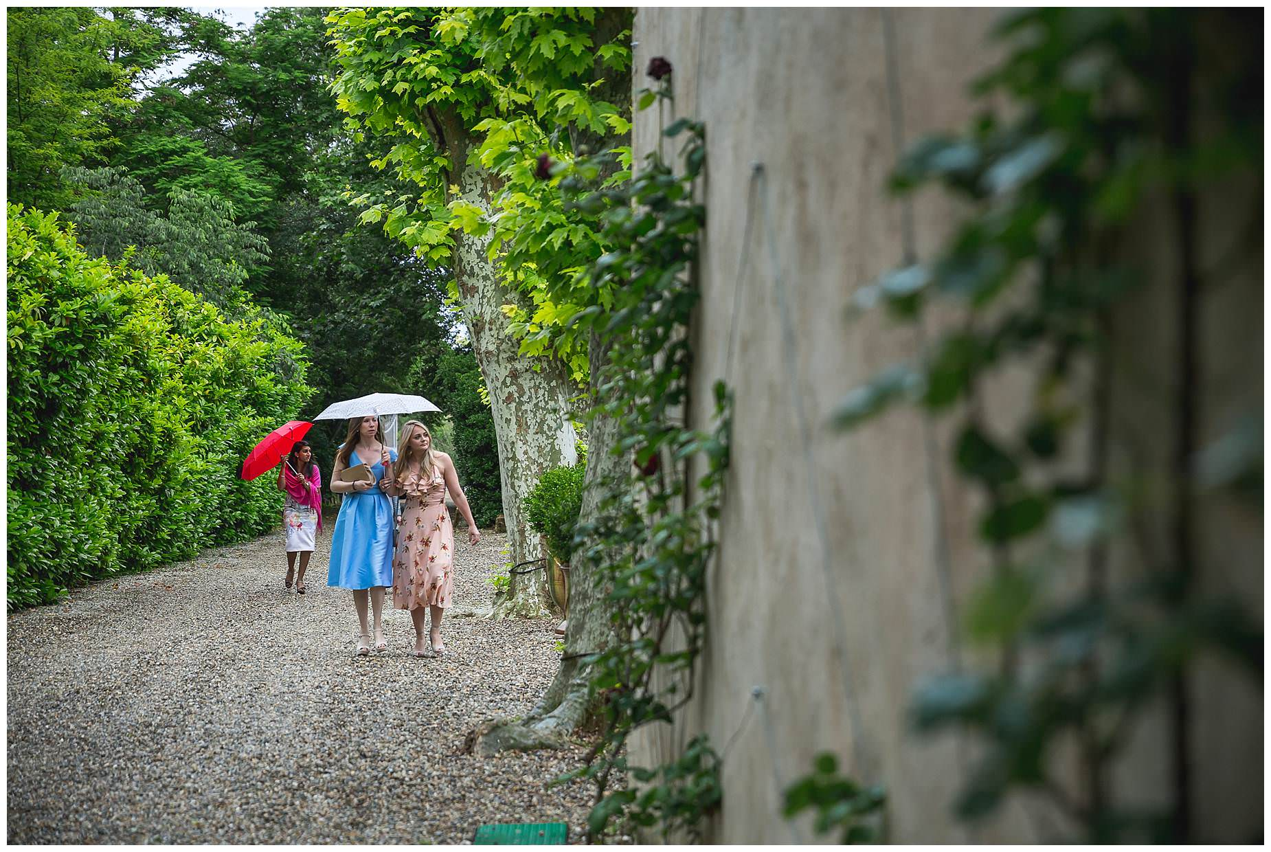 rain at Chateau Roquelune Wedding