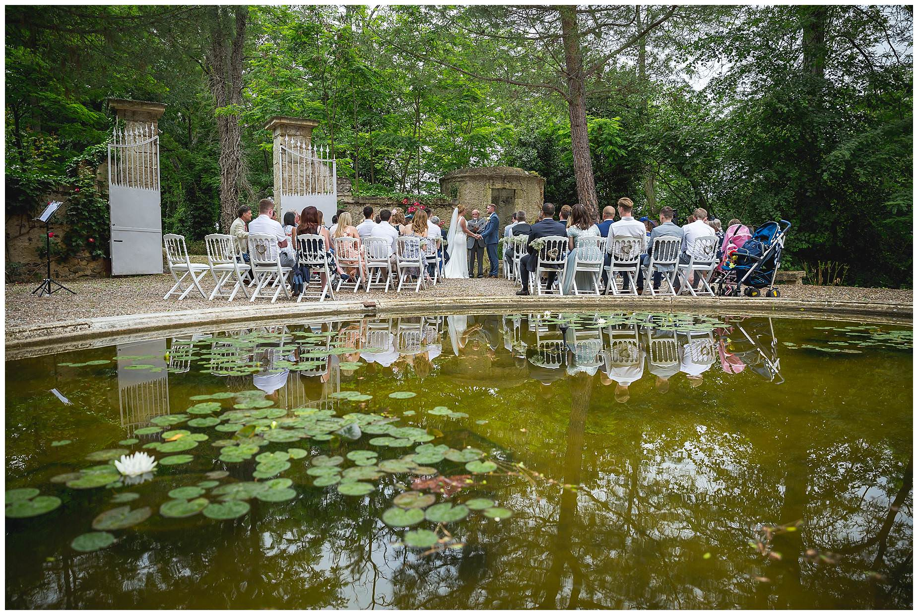 Chateau Roquelune Wedding ceremony outside