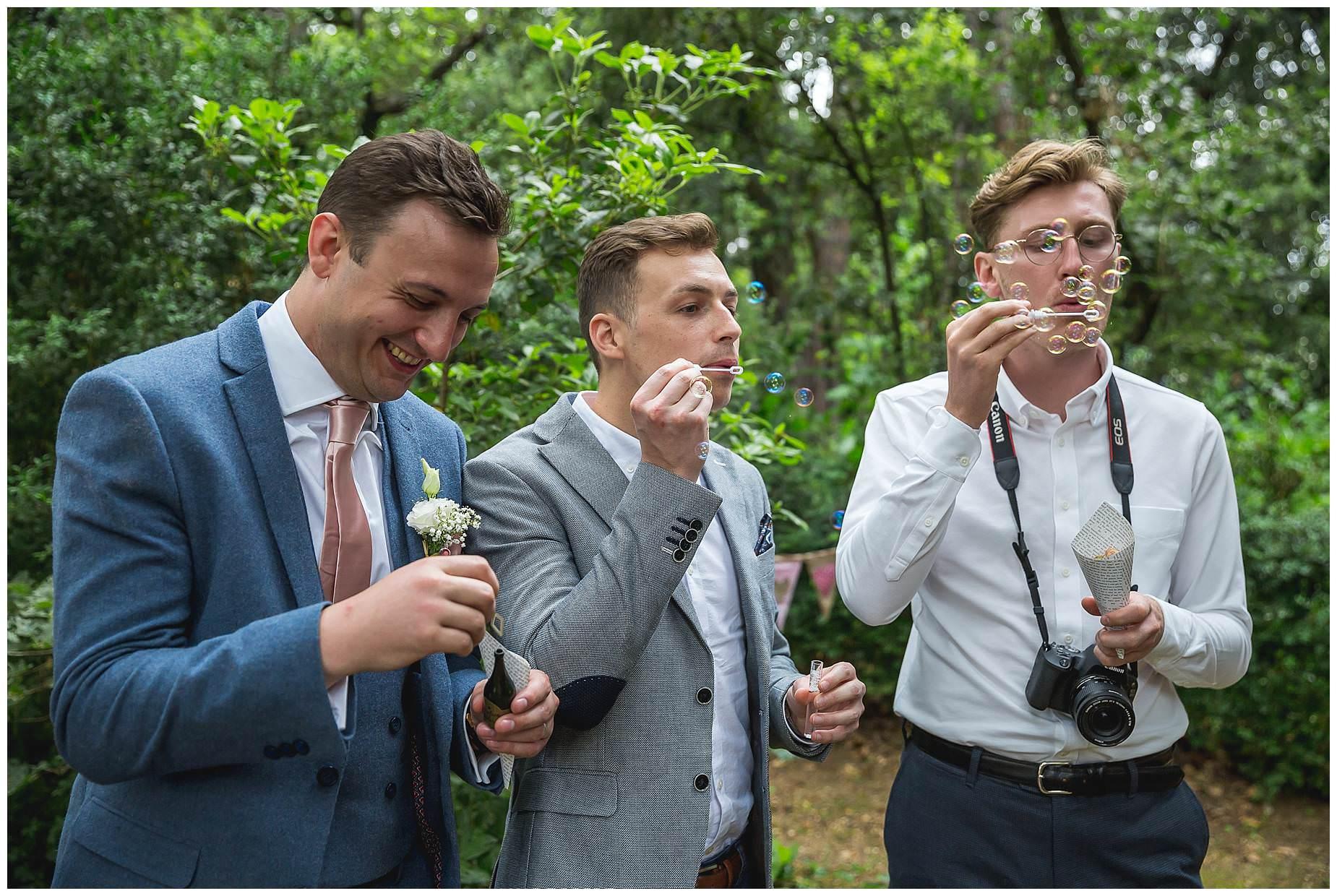 more guests blow bubbles