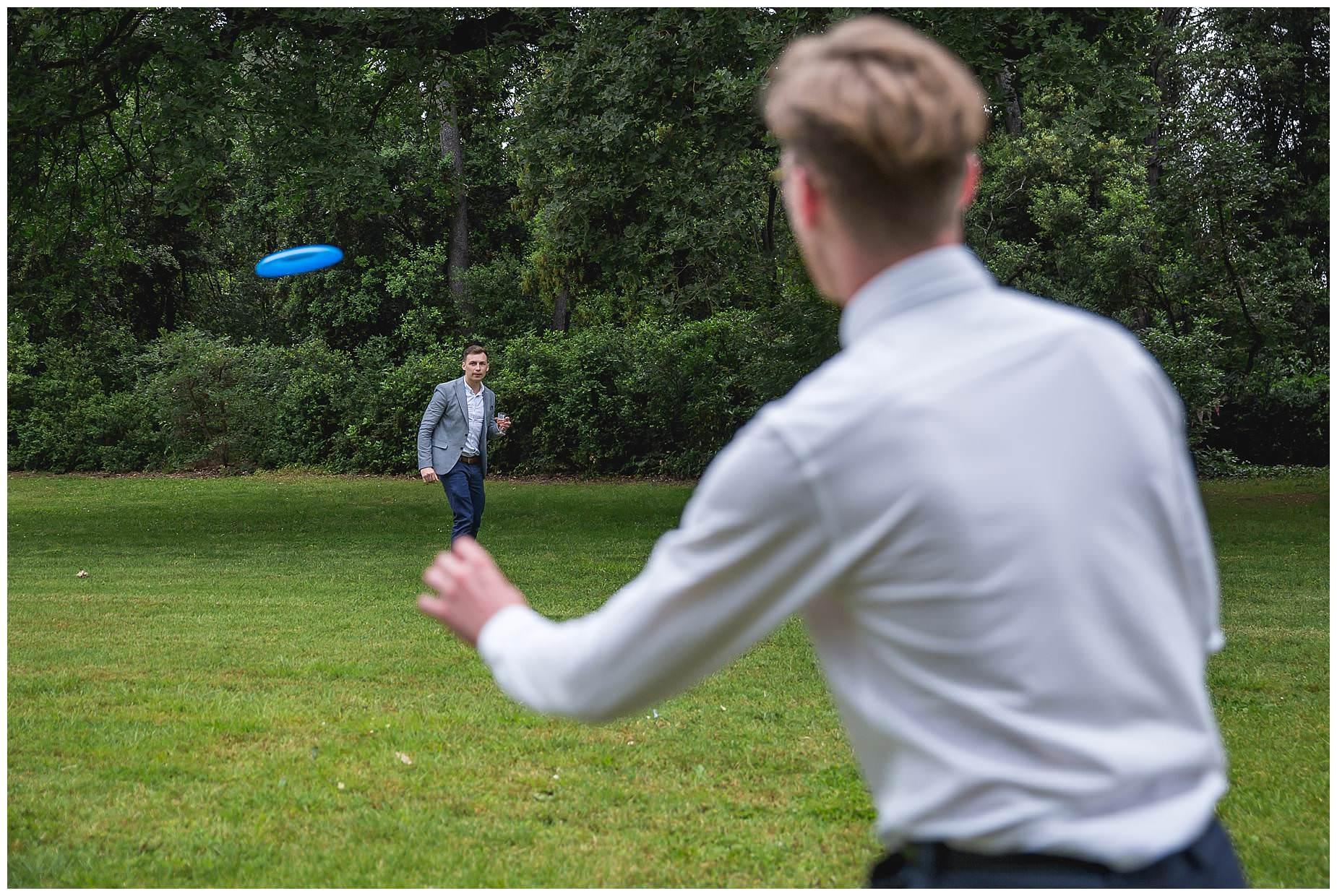 playing frizbee