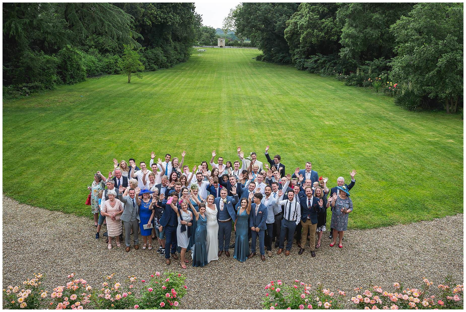 Group picture of all the guests at Chateau Roquelune Wedding
