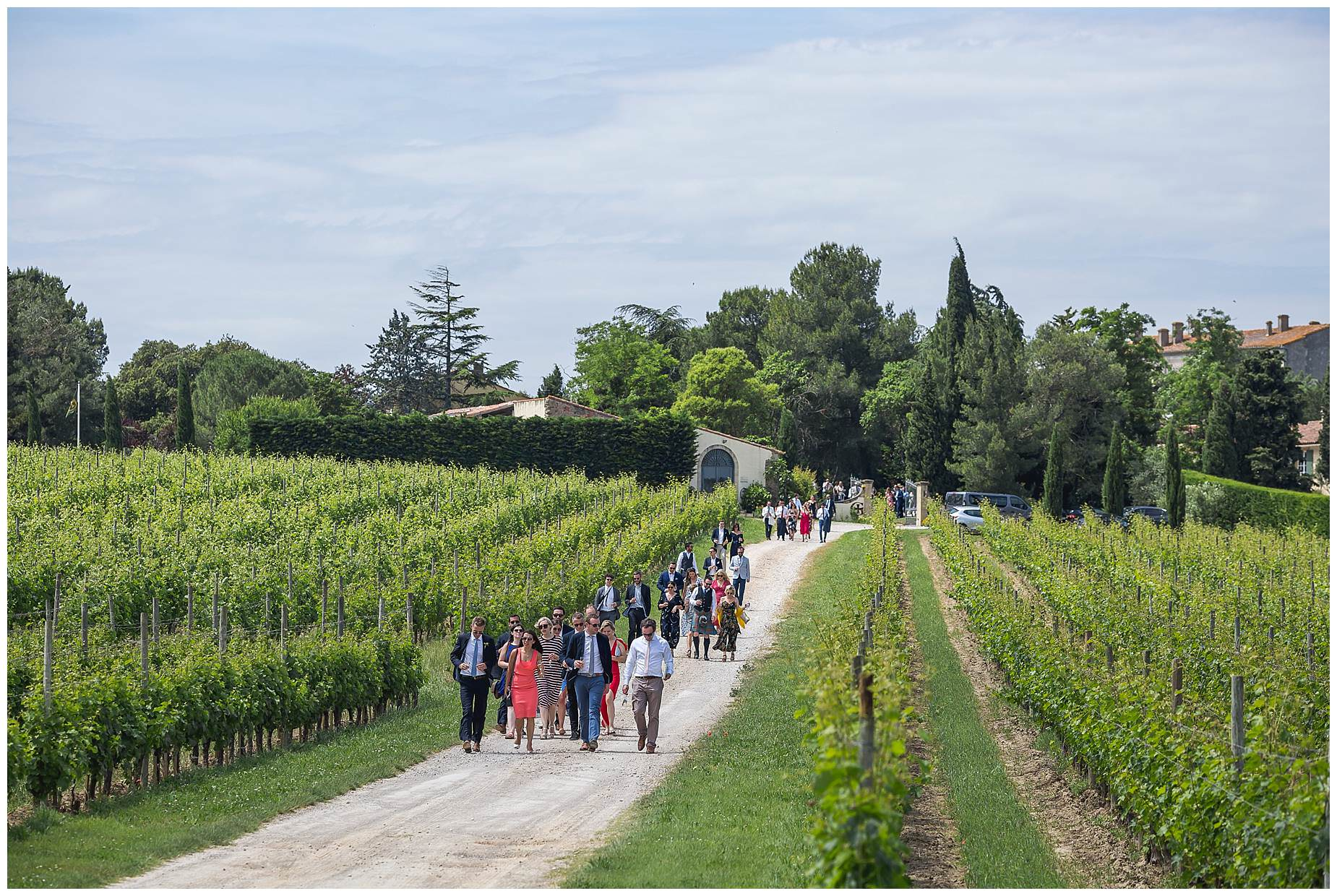 guest walk from ceremony domaine gayda