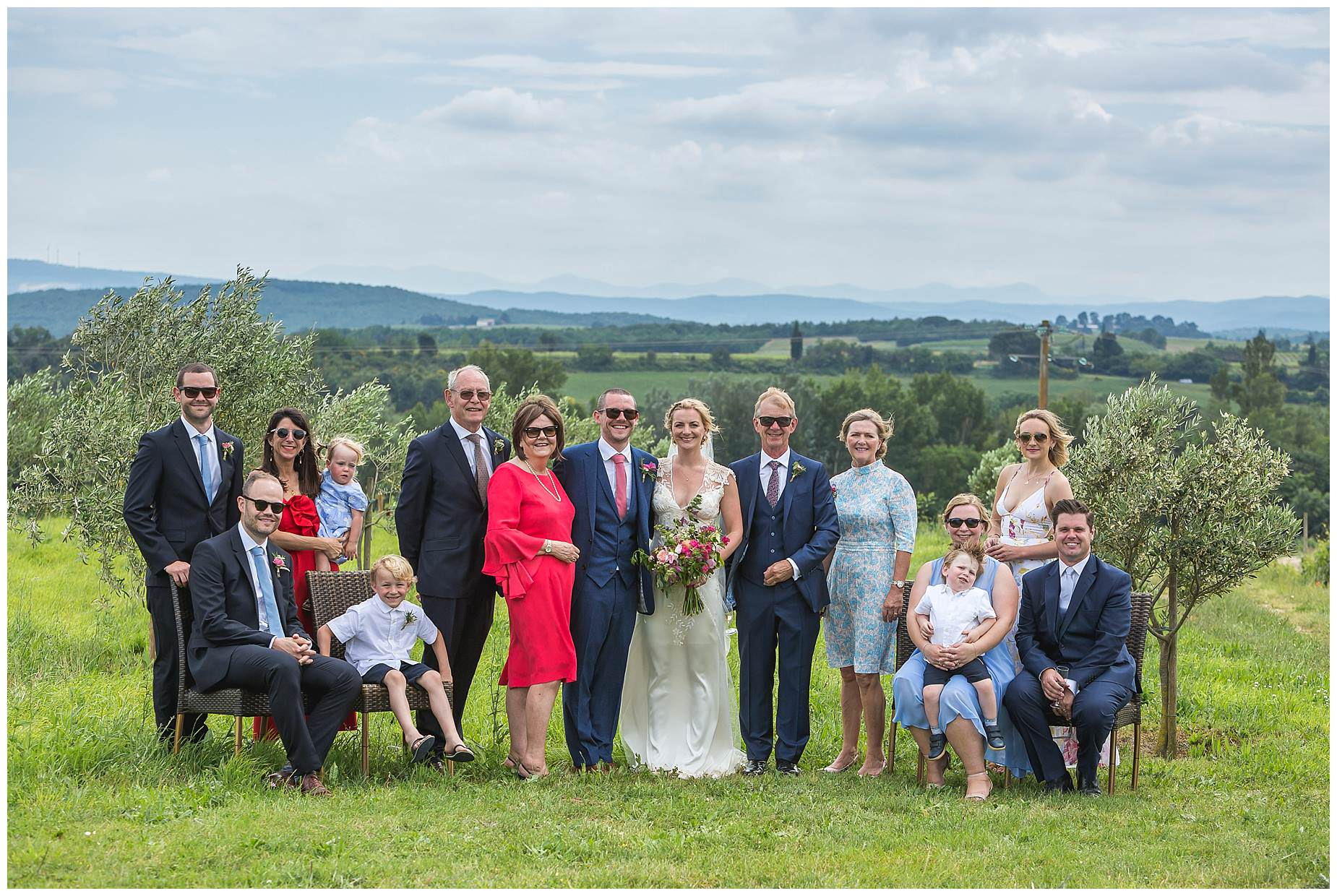 family photo at domaine gayda wedding