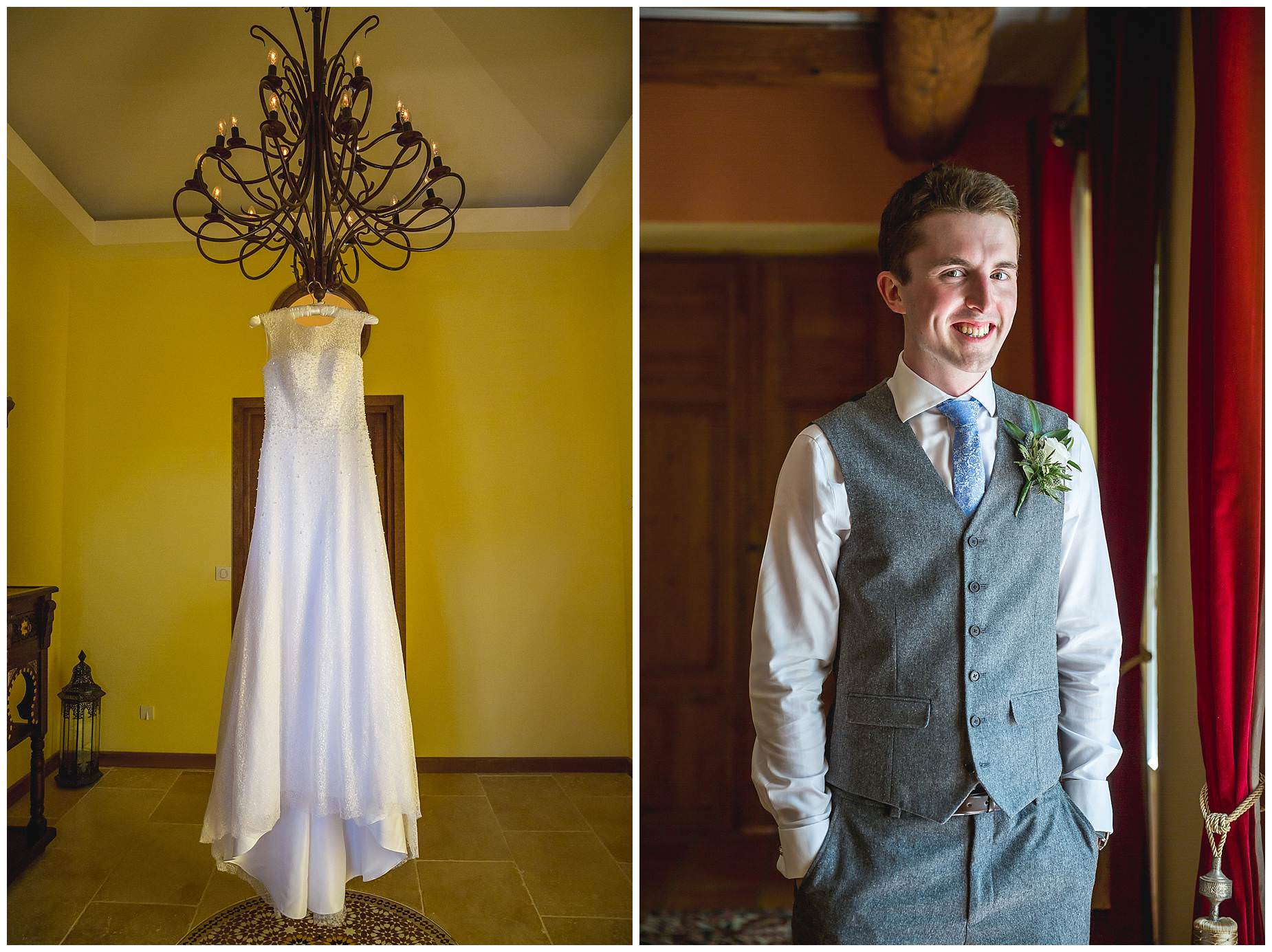 Groom and dress hanging at Villa Rouge le Cremade