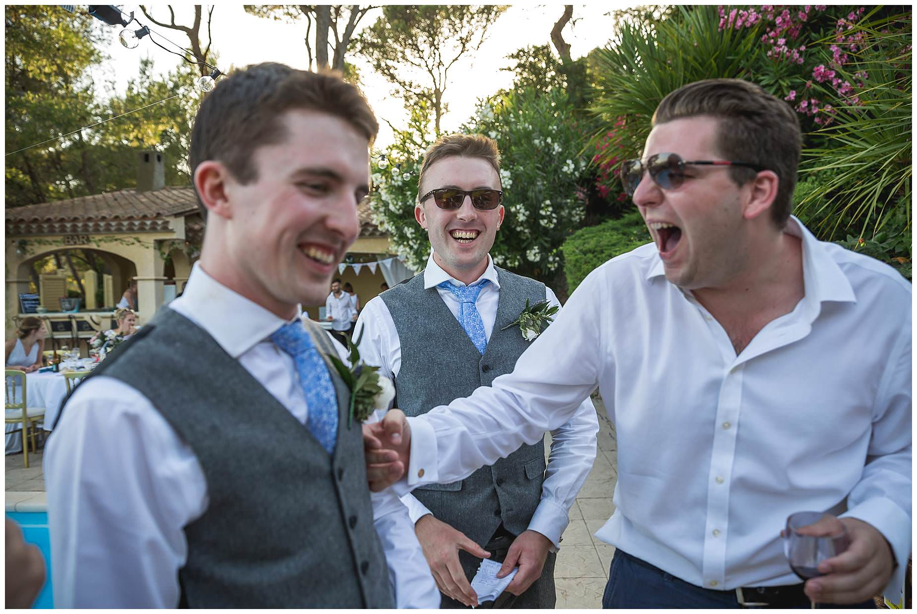 boys laughing at Villa rouge Wedding
