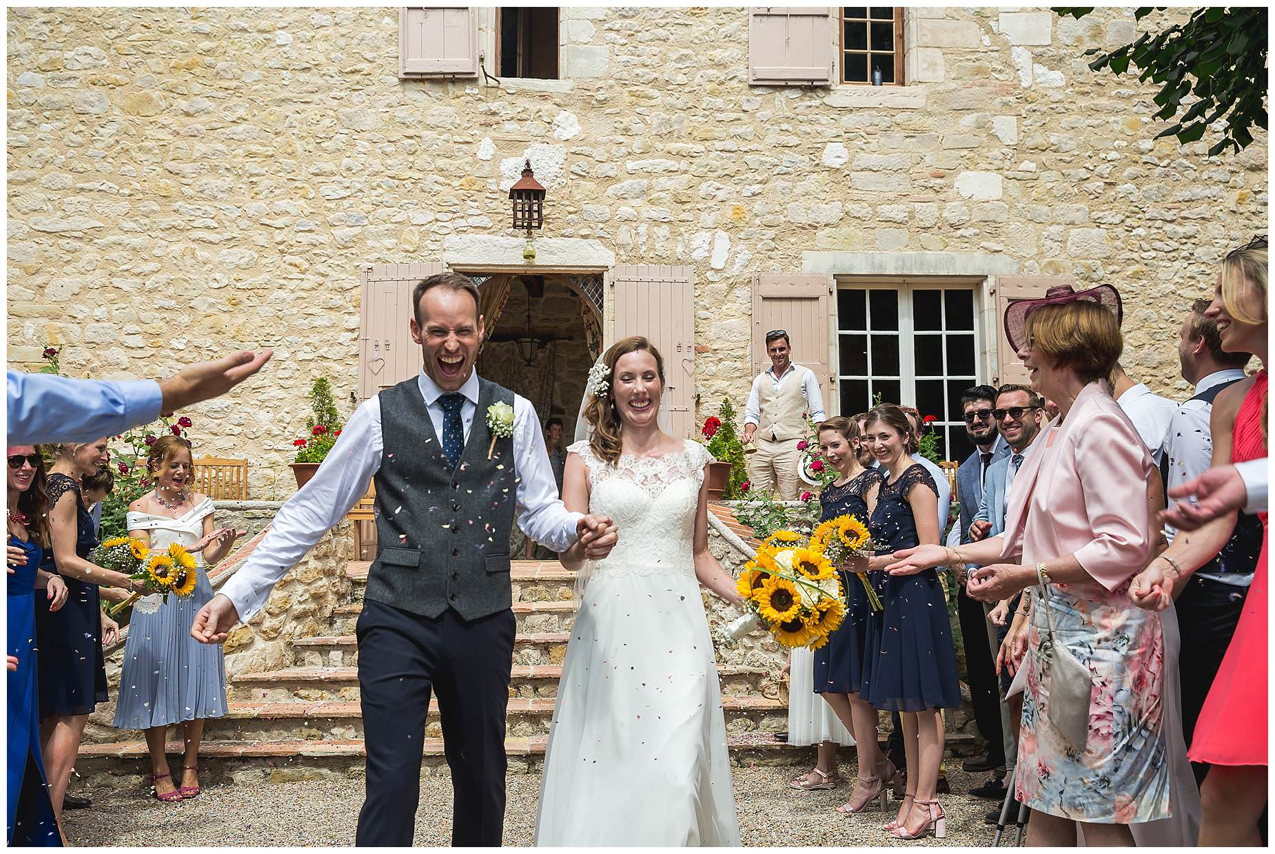 sunflower themed wedding at chateau brametourte wedding
