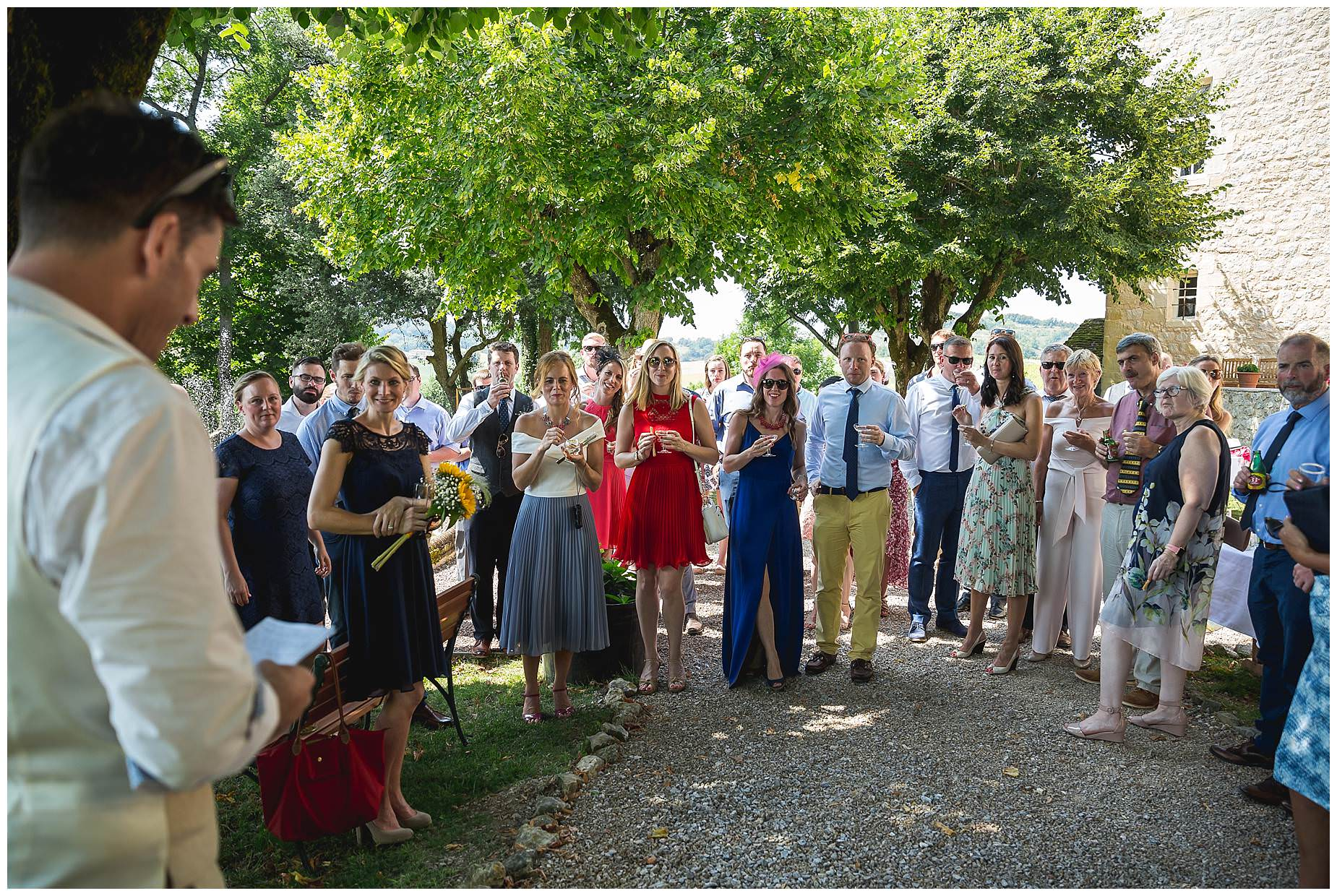 wedding guests at chateau brametourte wedding