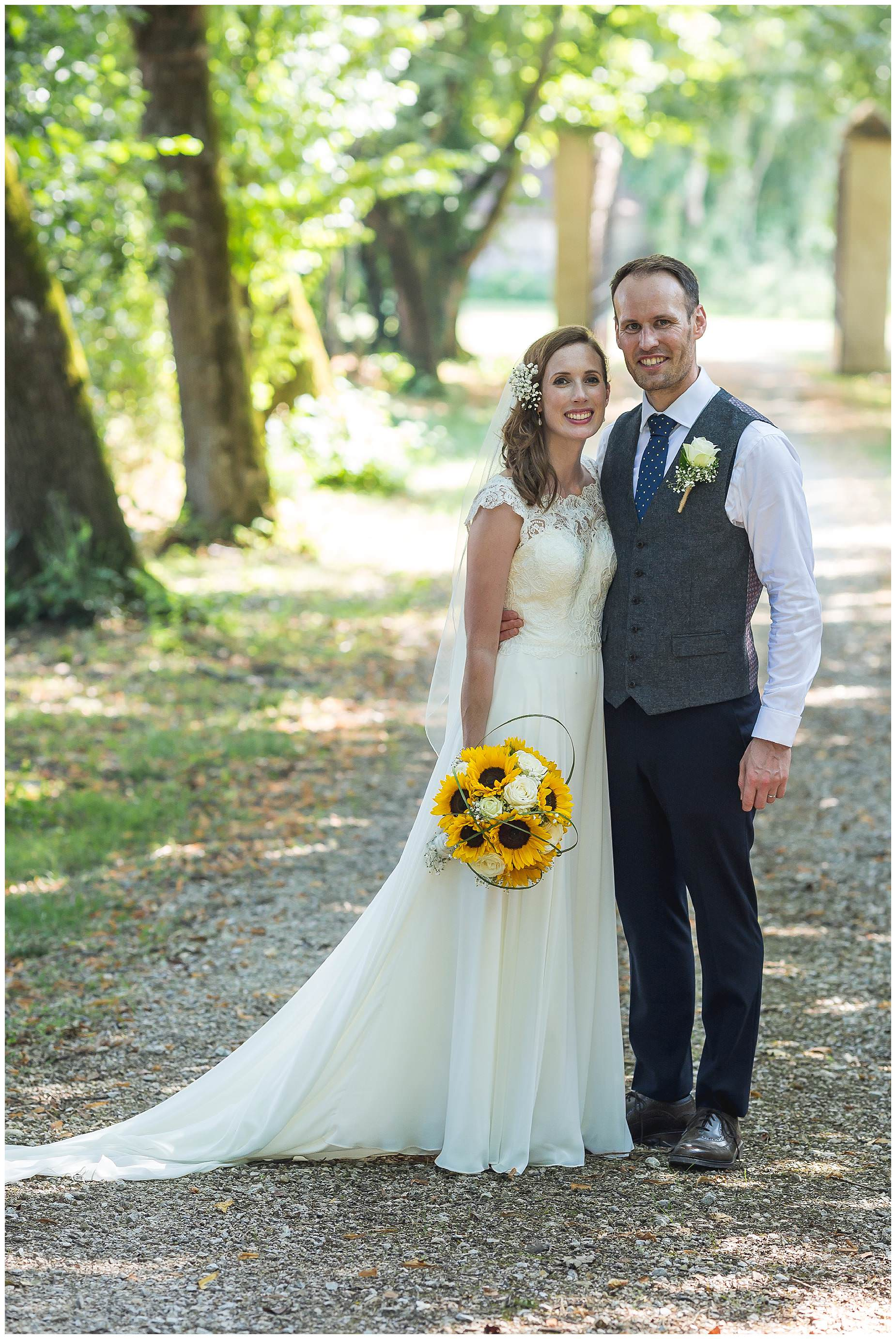 bride with sunflowers