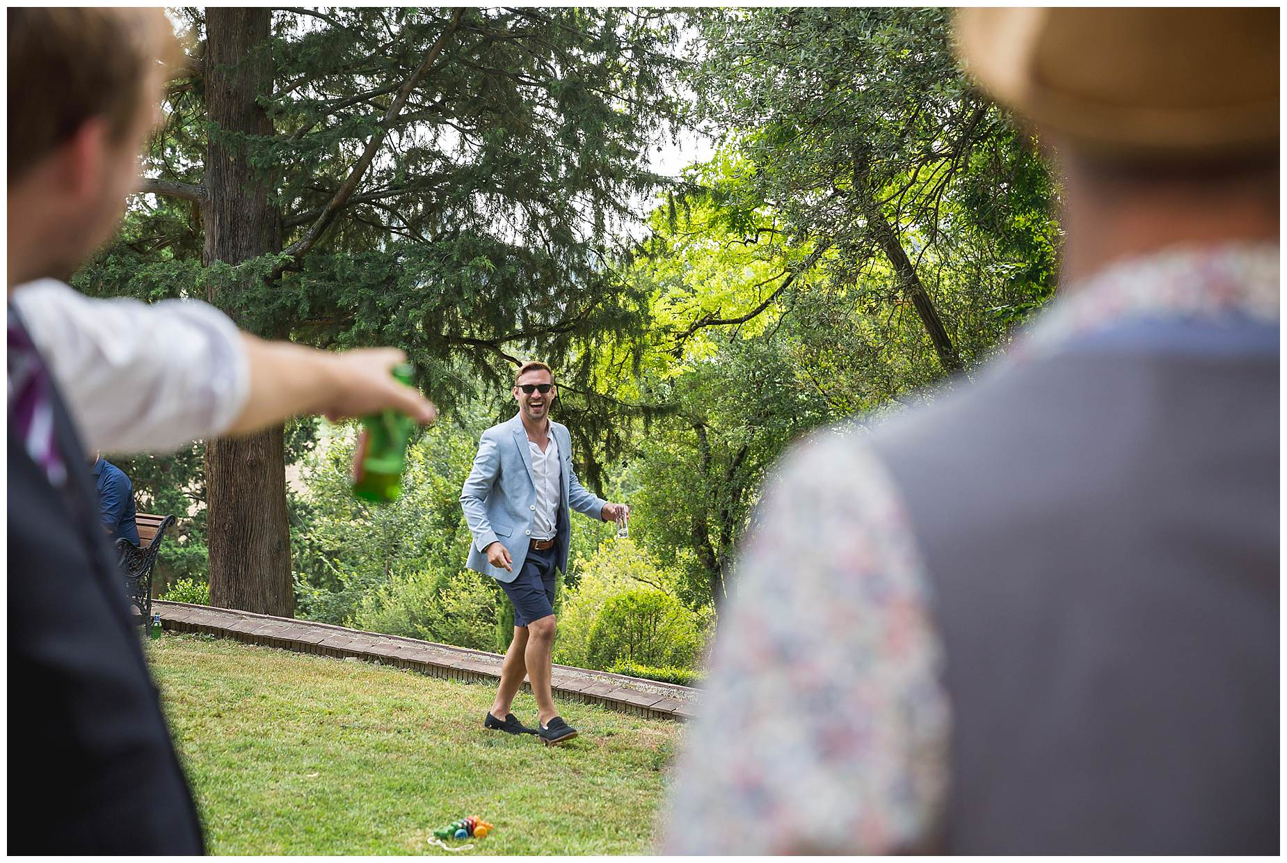 playing boule at chateau brametourte