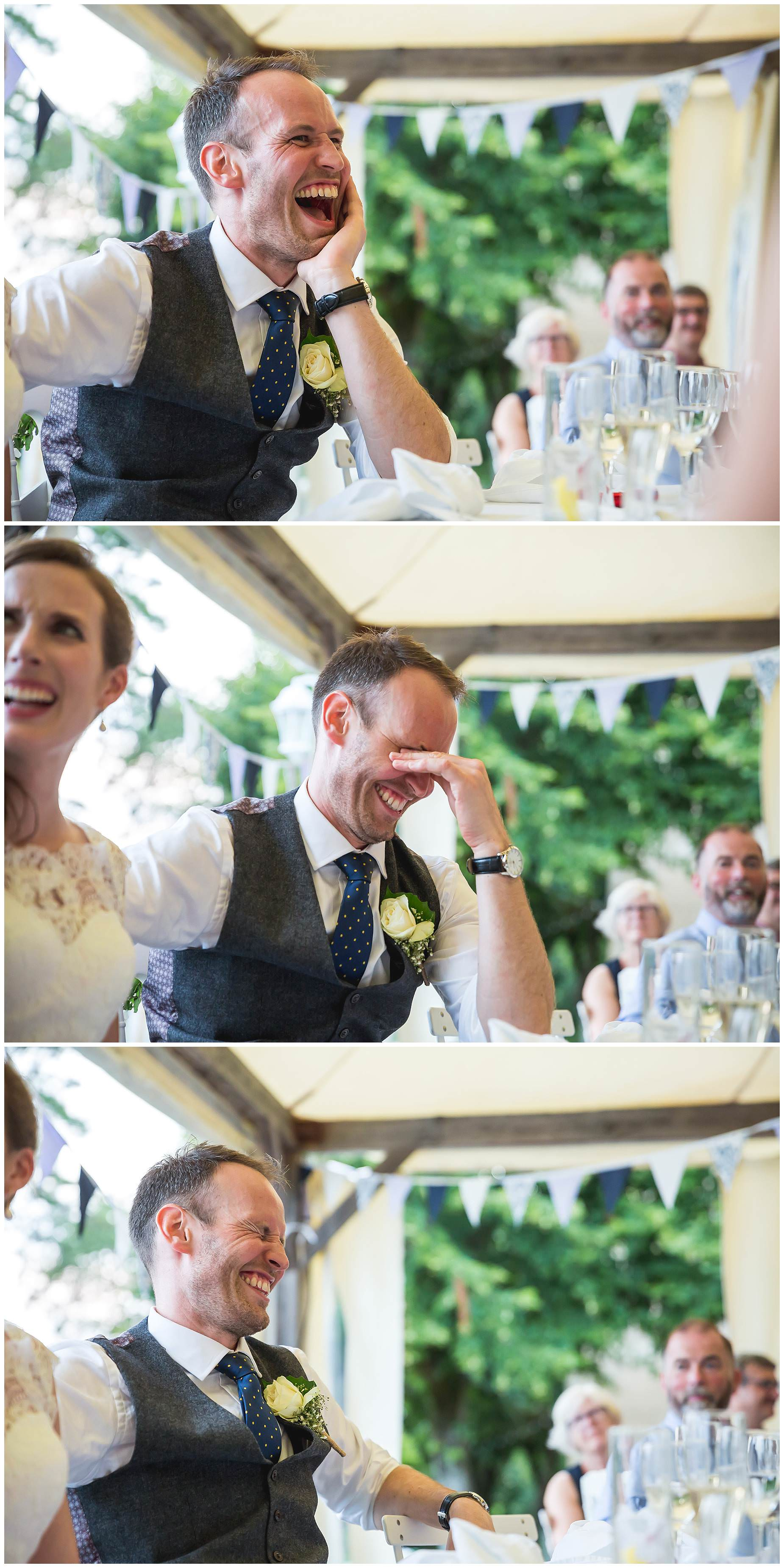 groom looks embarrassed