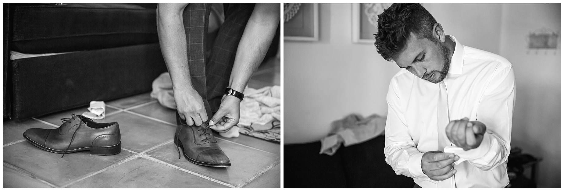 Groom putting on shoes for Domaine Saint Germain wedding