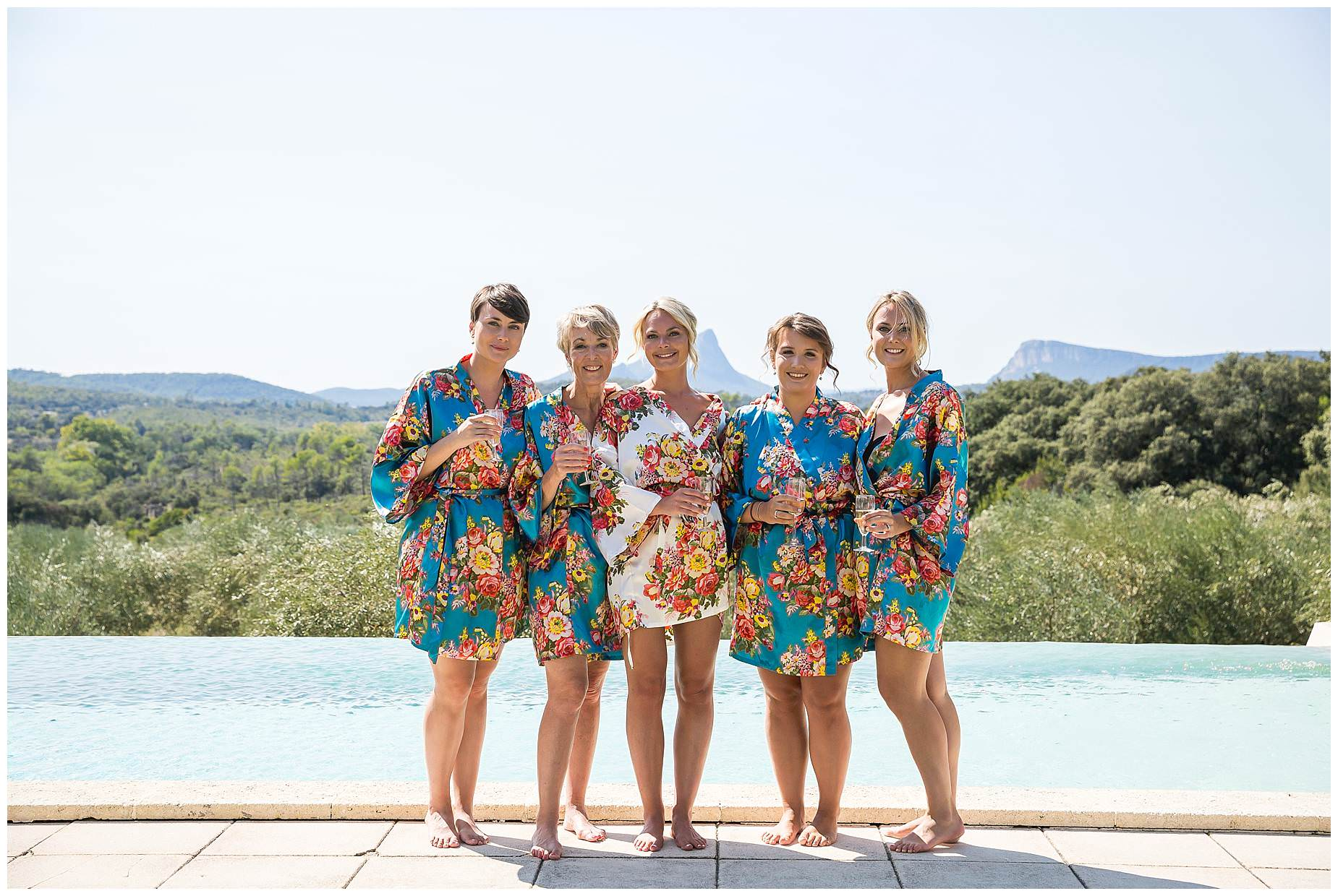 Gilrs in flowery dressing gowns at Domaine Saint Germain Wedding