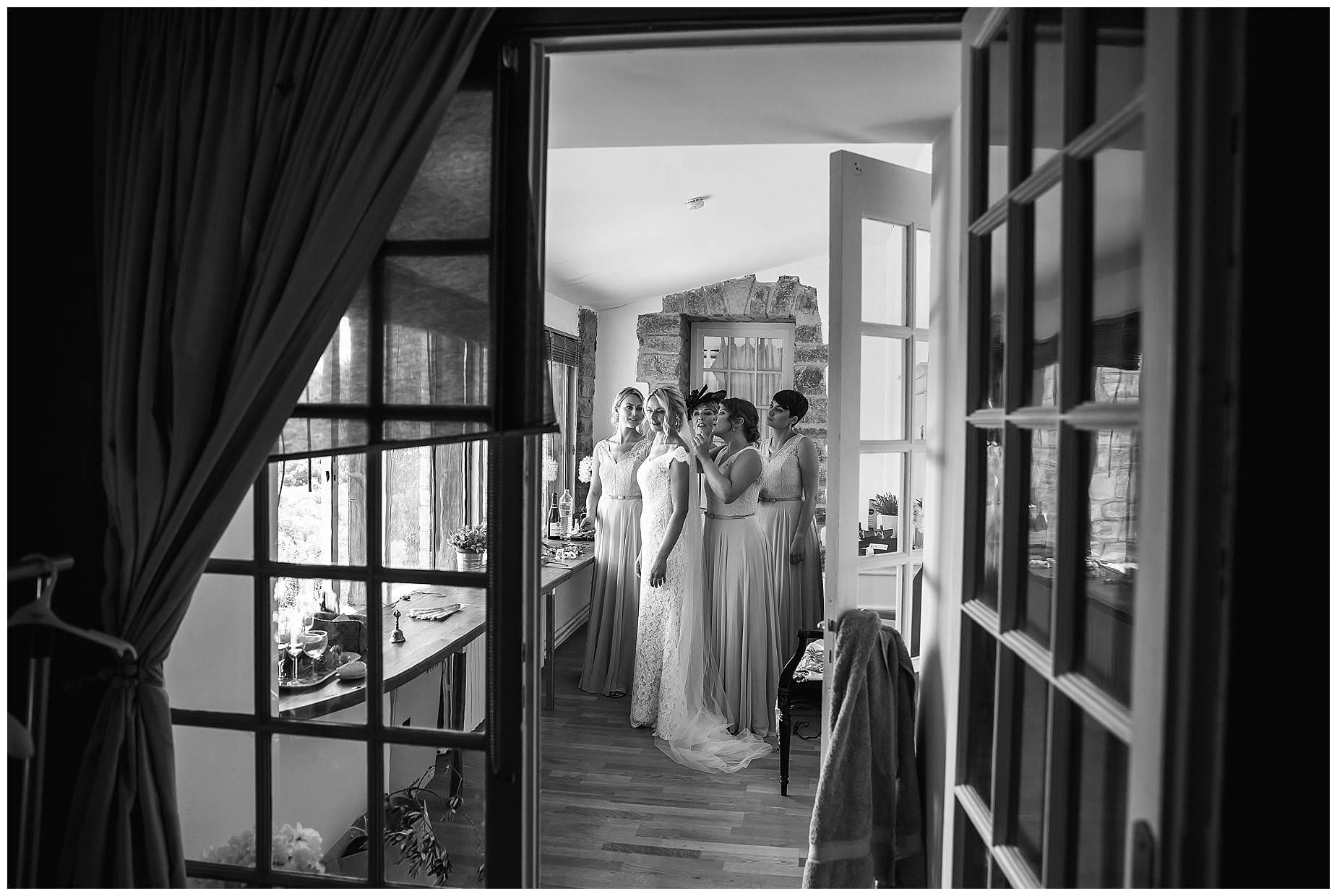girls through a door at Domaine Saint Germaine