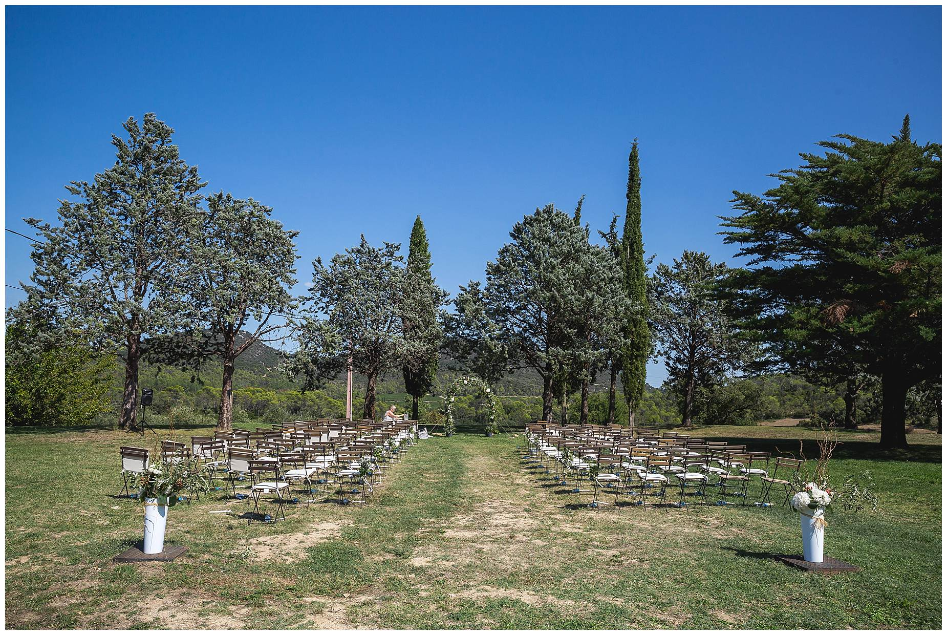 Domaine Saint Germaine outdoor wedding ceremony set up