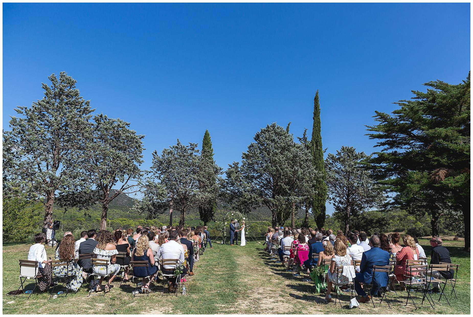 Domaine Saint Germaine Wedding ceremony outdoors